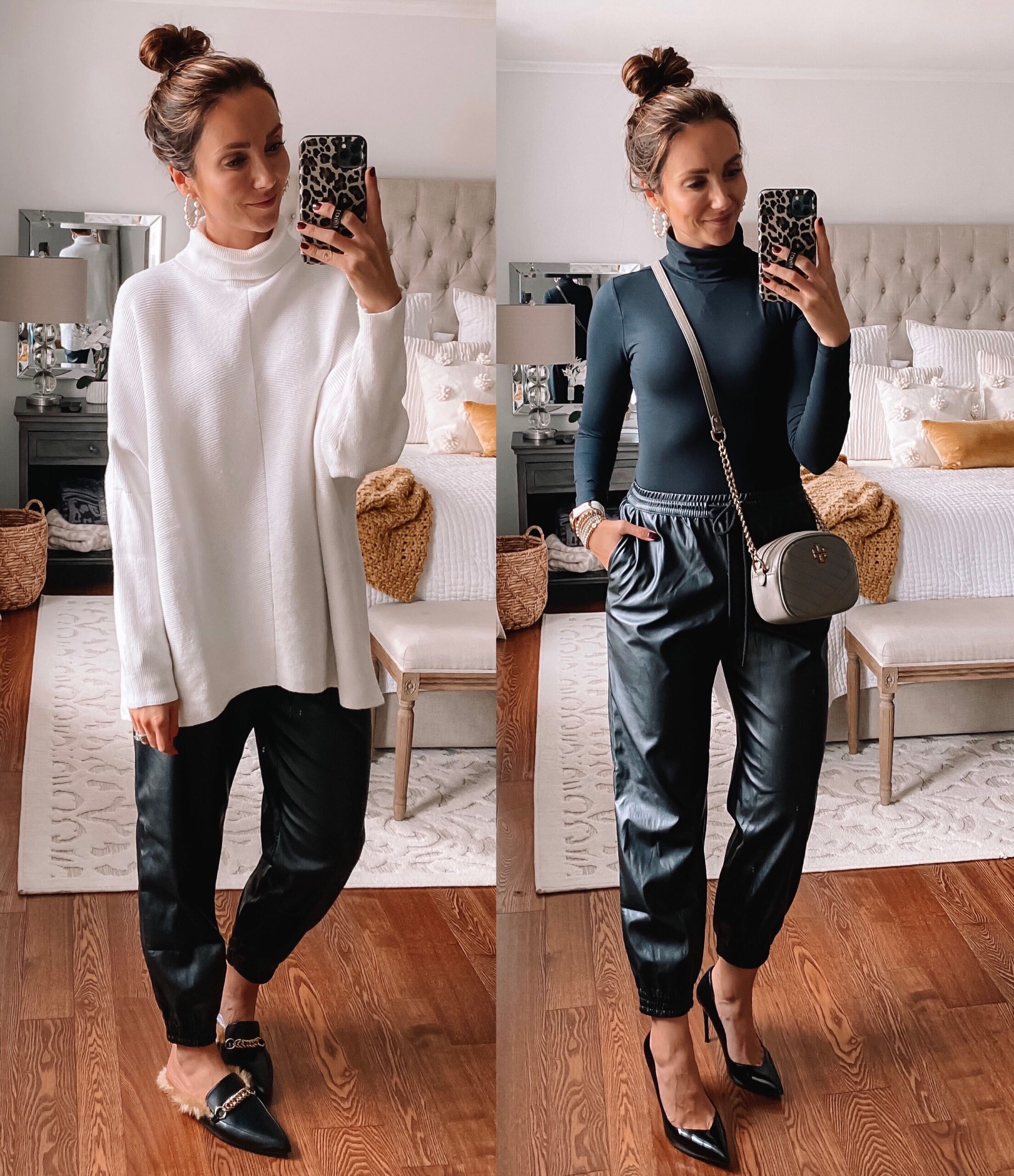 target style, oversized sweater with faux leather joggers, fall outfit, date night outfit