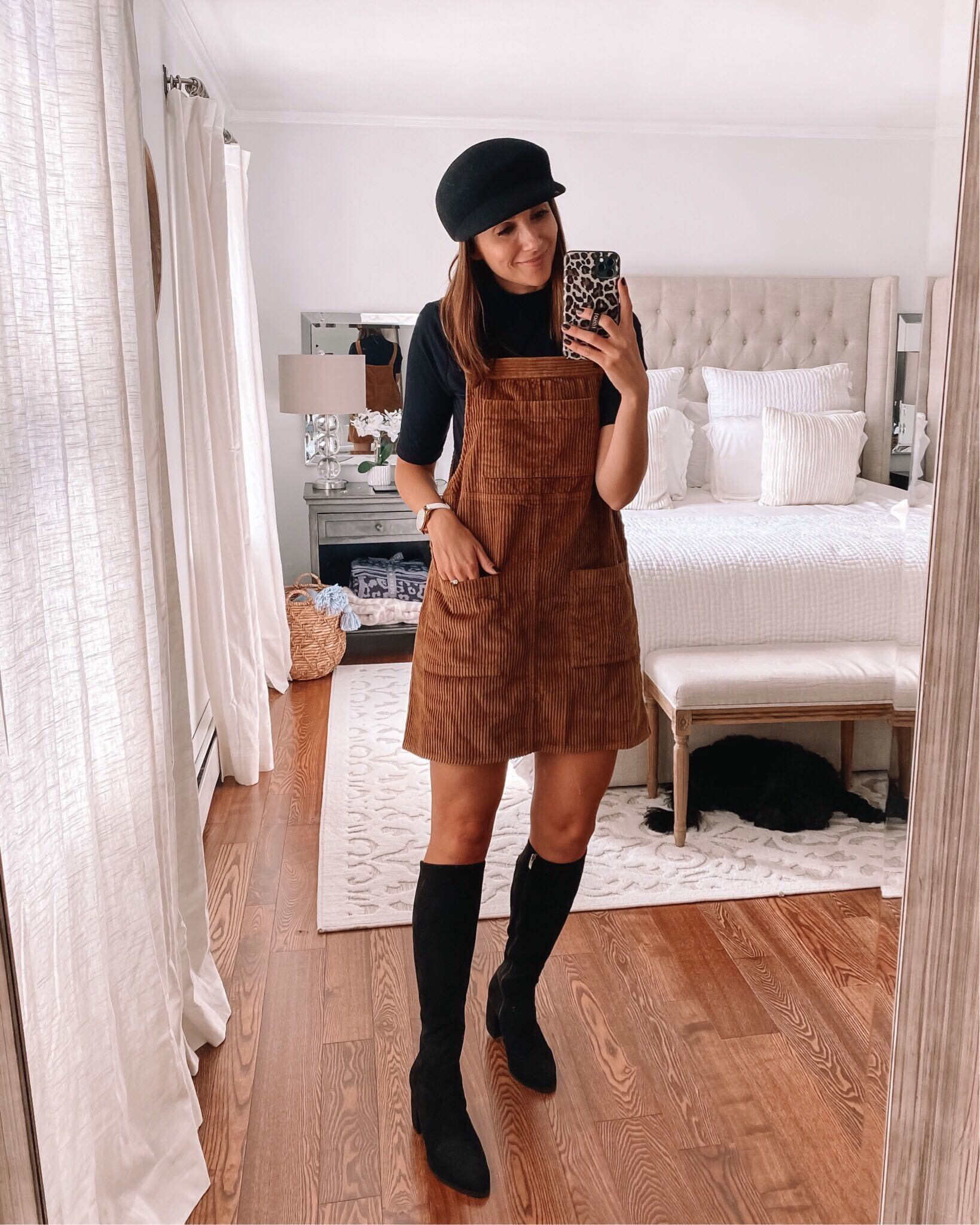 fall outfits, pinafore, knee high boots
