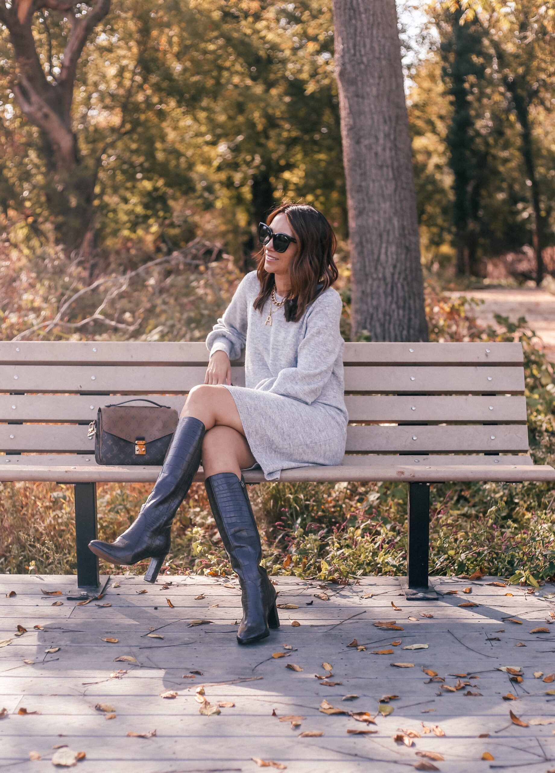 sweater dress, fall outfit ideas, knee high boots