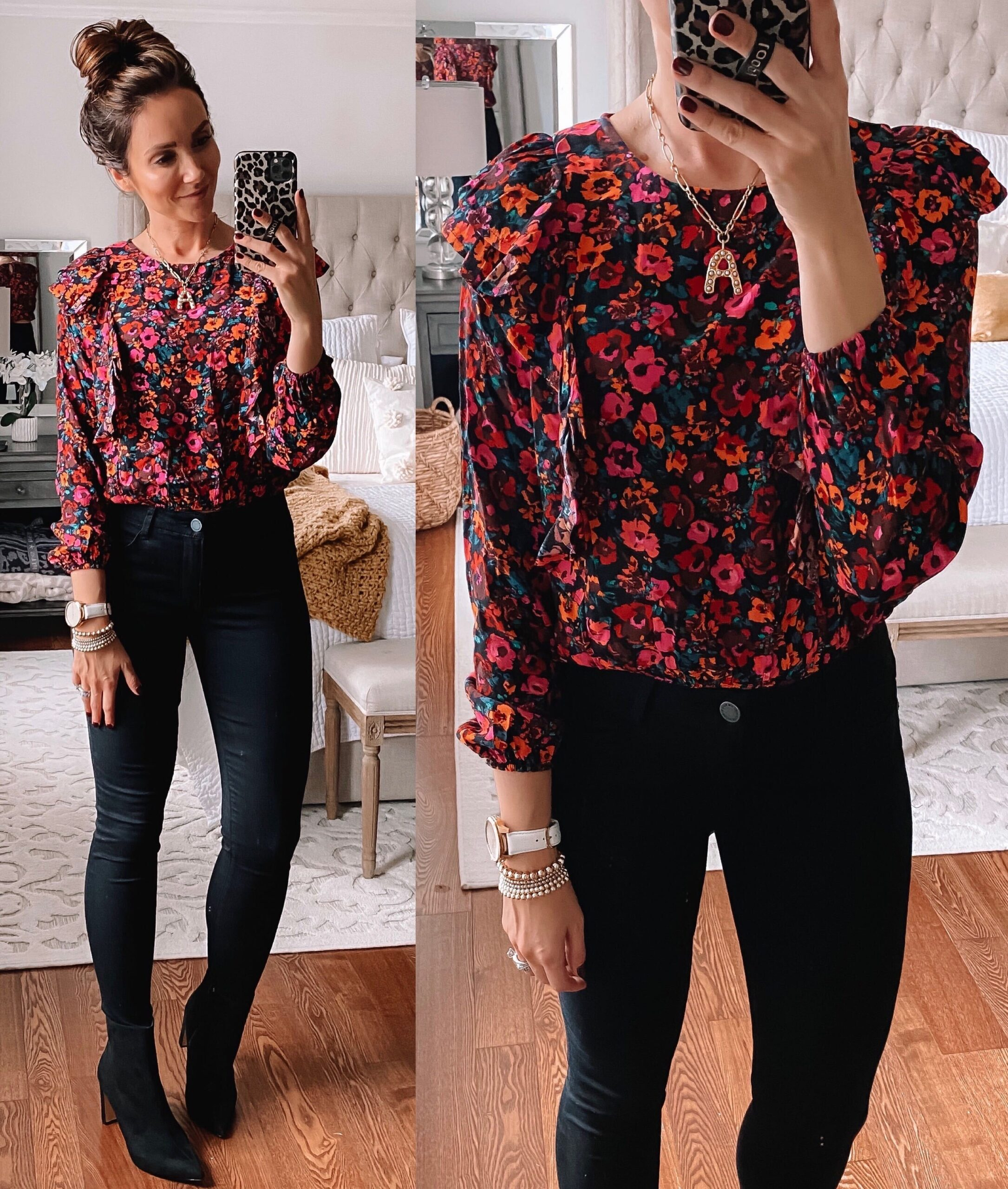target style, target floral blouse with black jeans