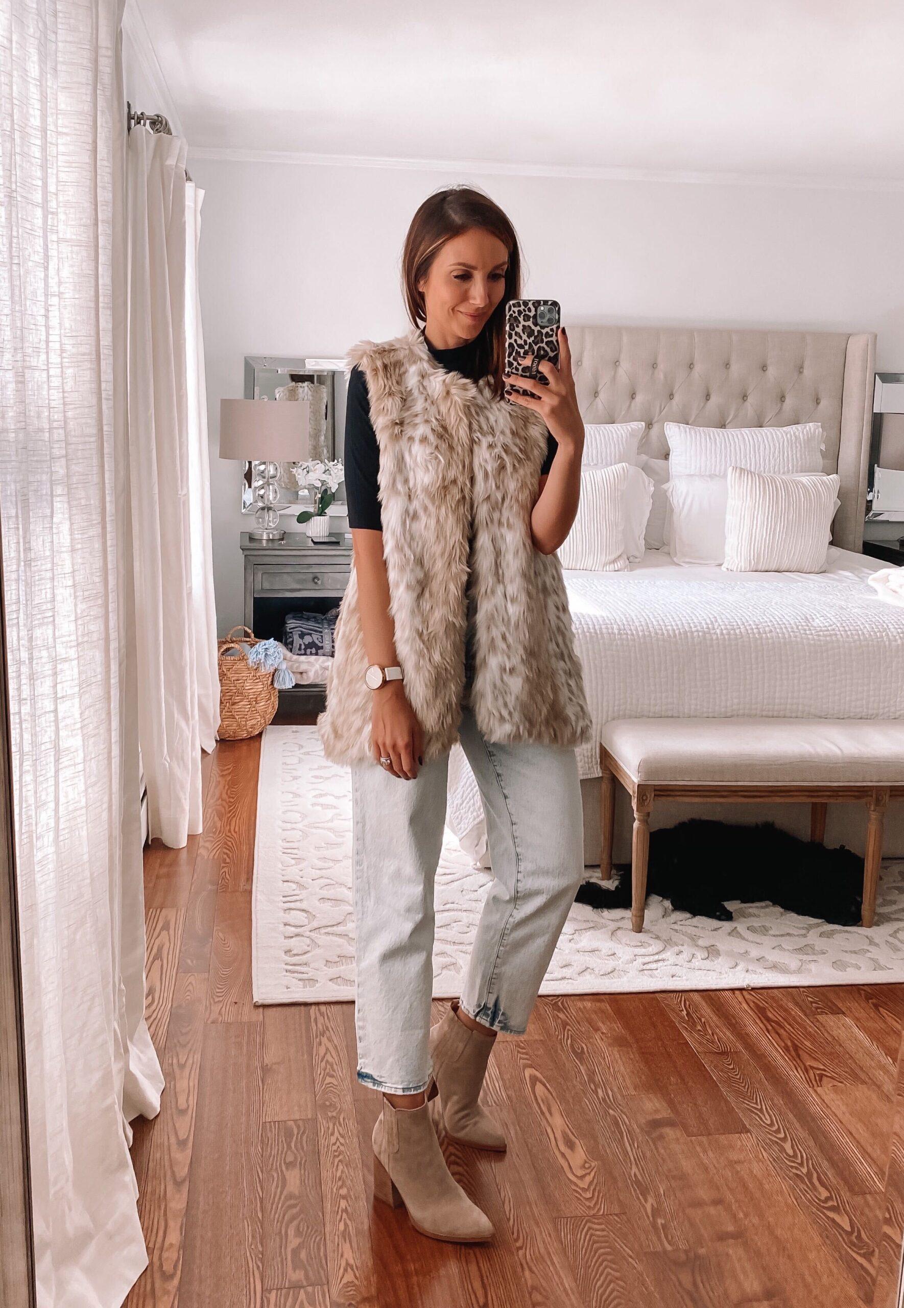 walmart faux fur vest, fall outfit idea, target jean