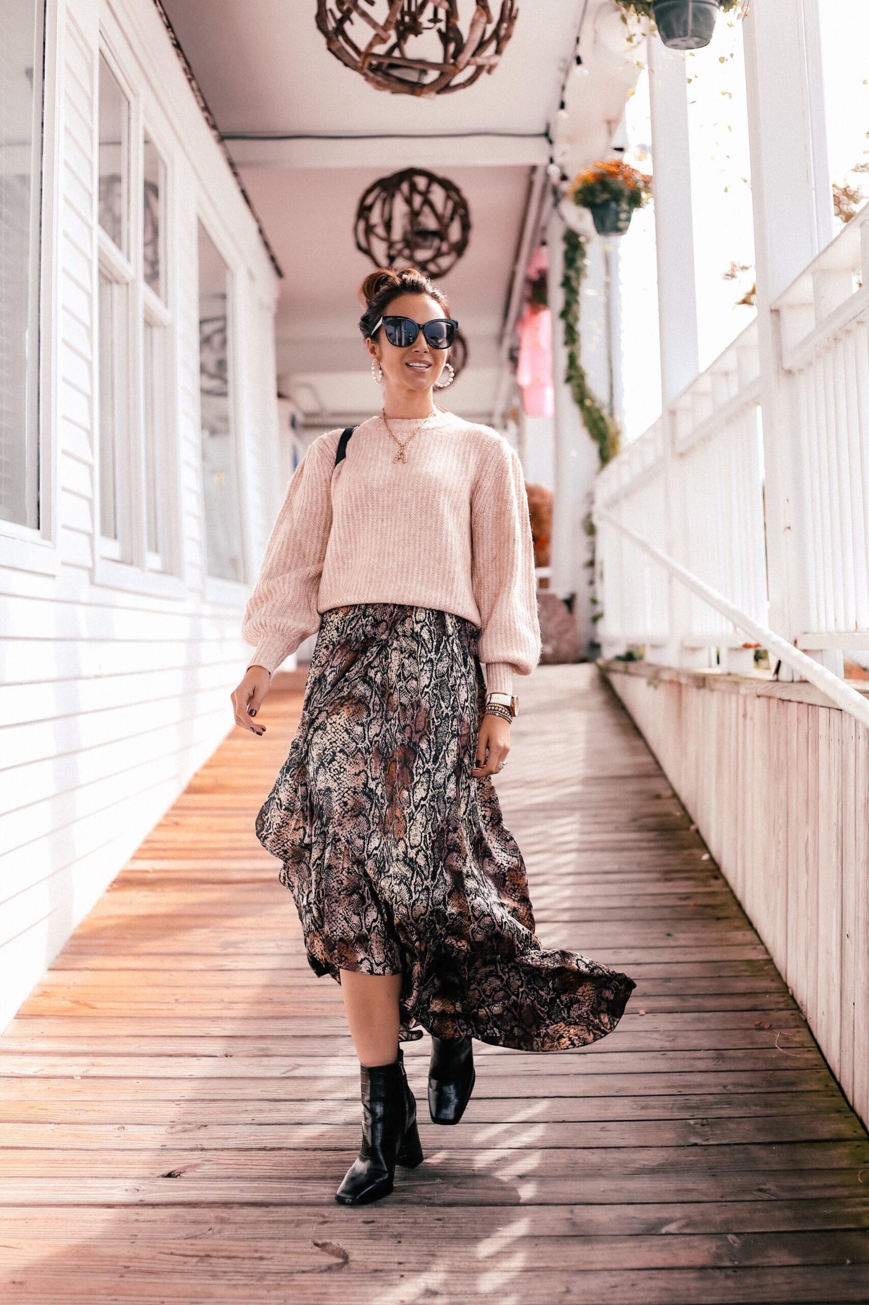 walmart fashion, walmart finds, sweater and skirt
