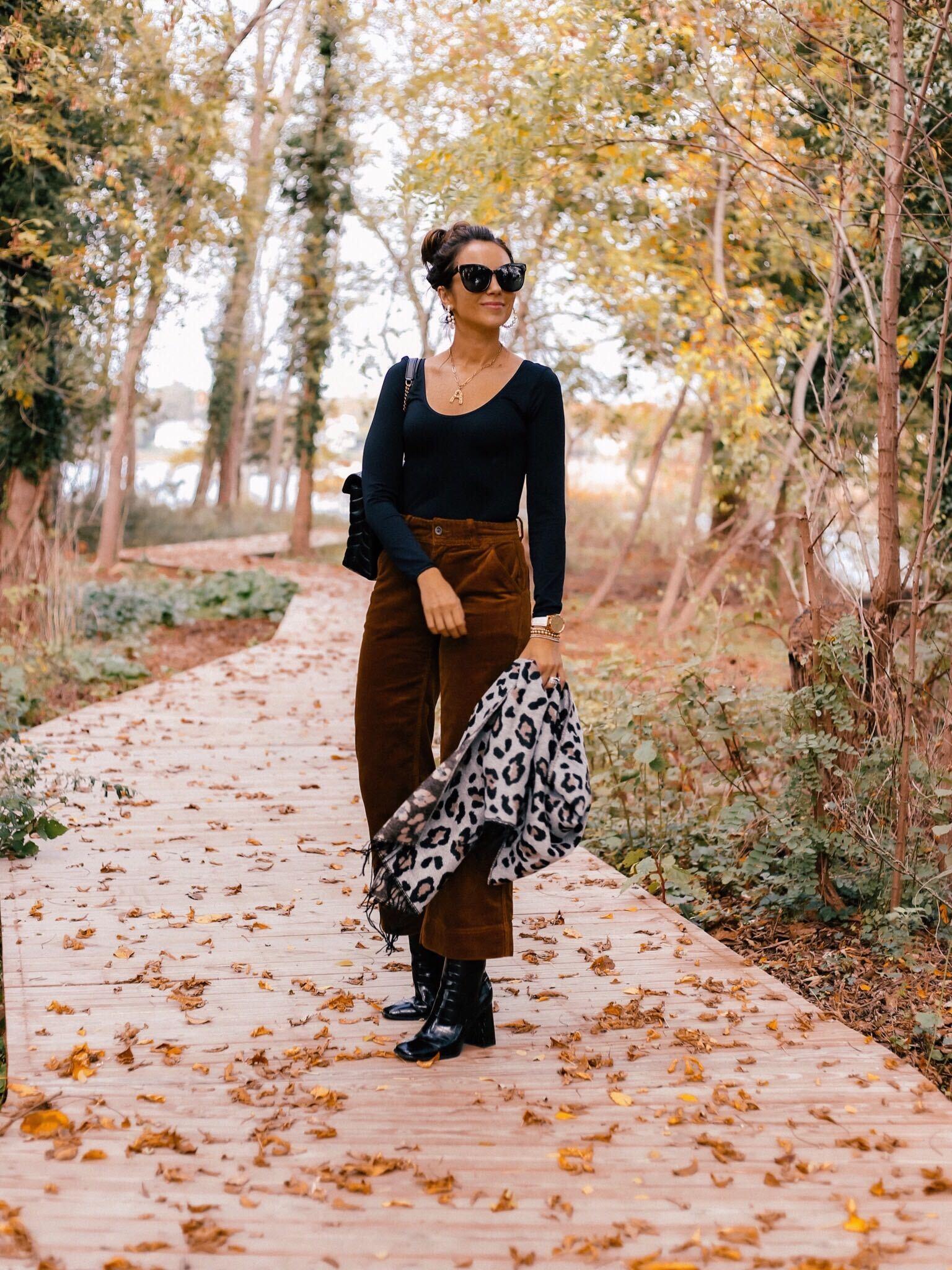 Walmart fall fashion, bodysuit, corduroy pants