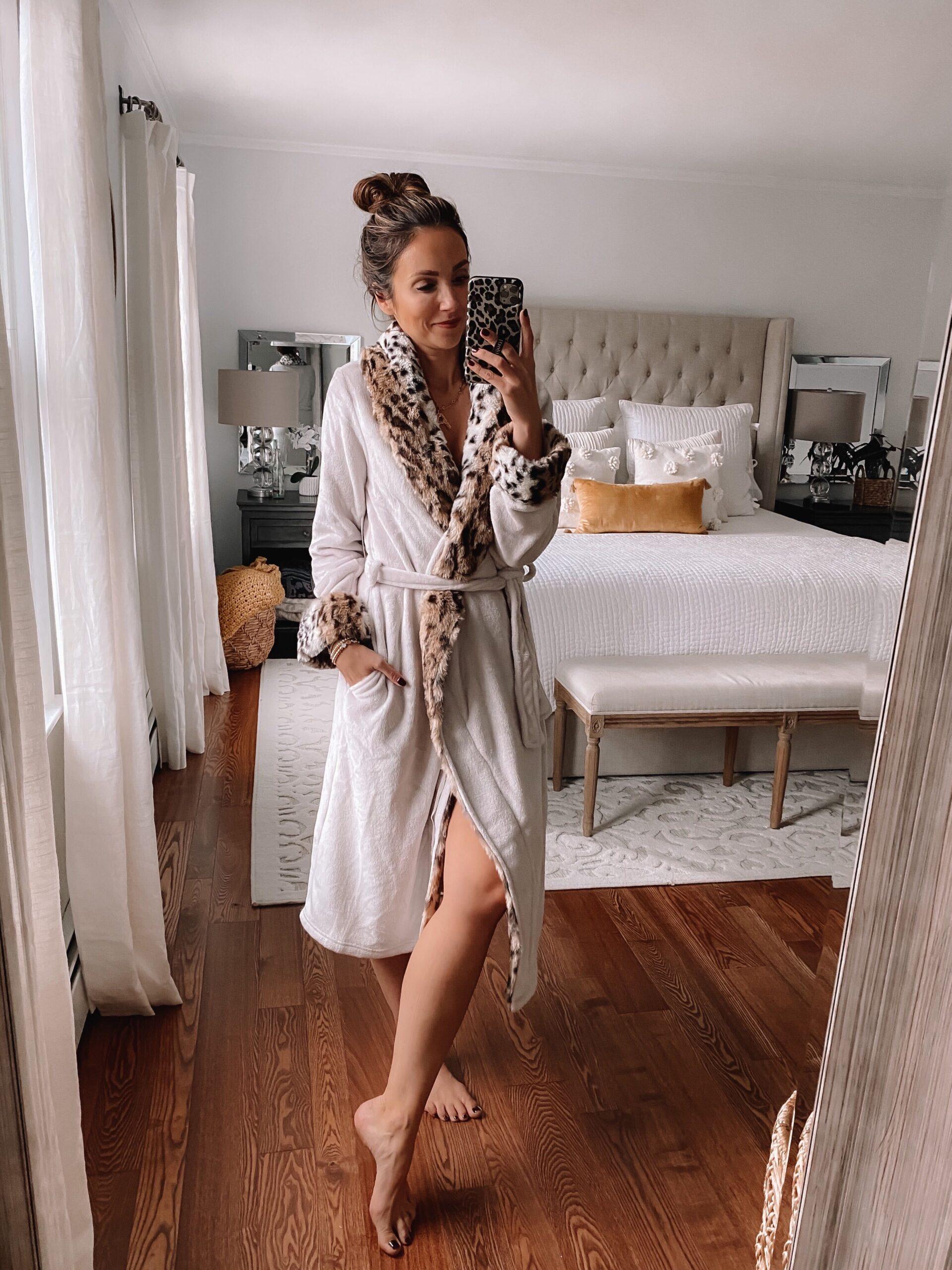 Walmart finds, leopard robe, cozy loungewear