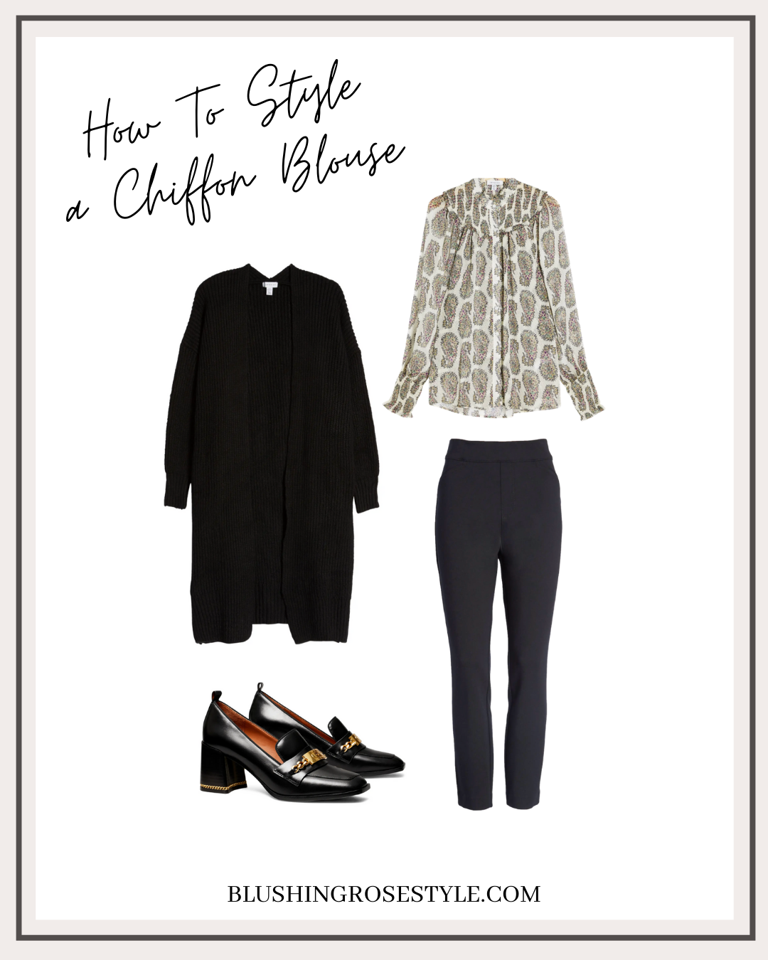 how to style chiffon blouse, workwear option