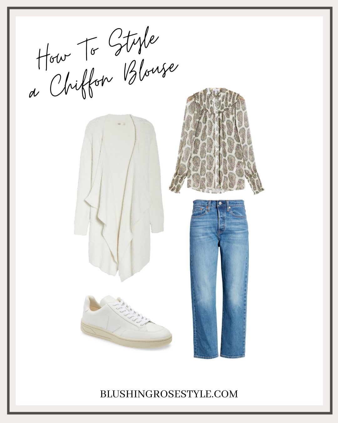 outfit idea with chiffon blouse, fall outfit idea