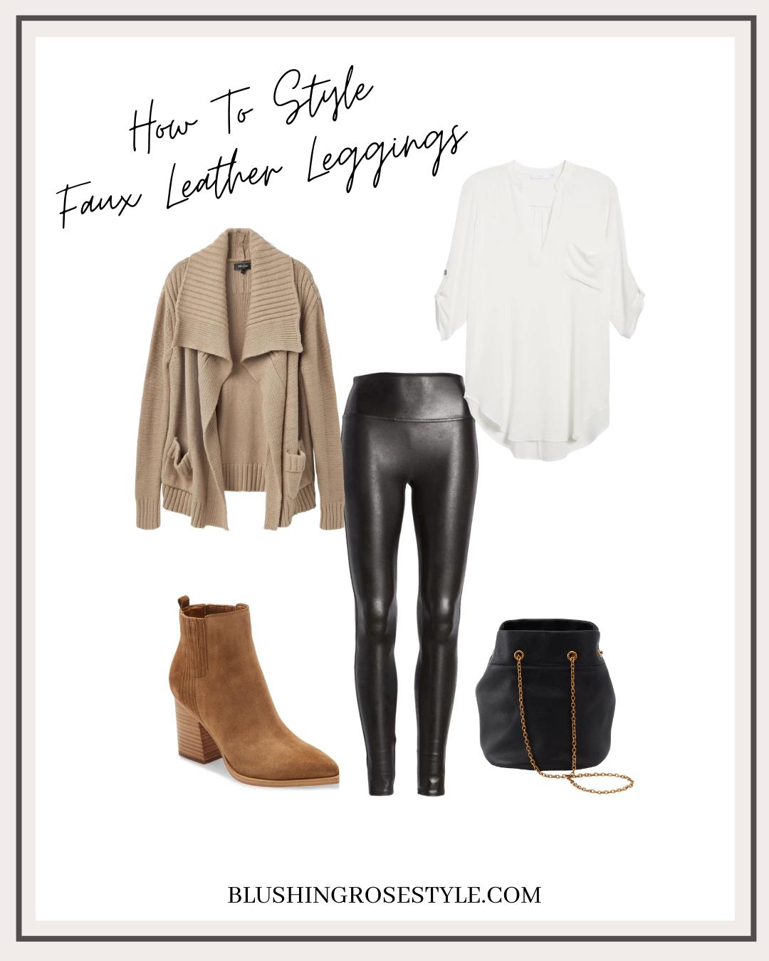Faux Leather Leggings Outfit Idea
