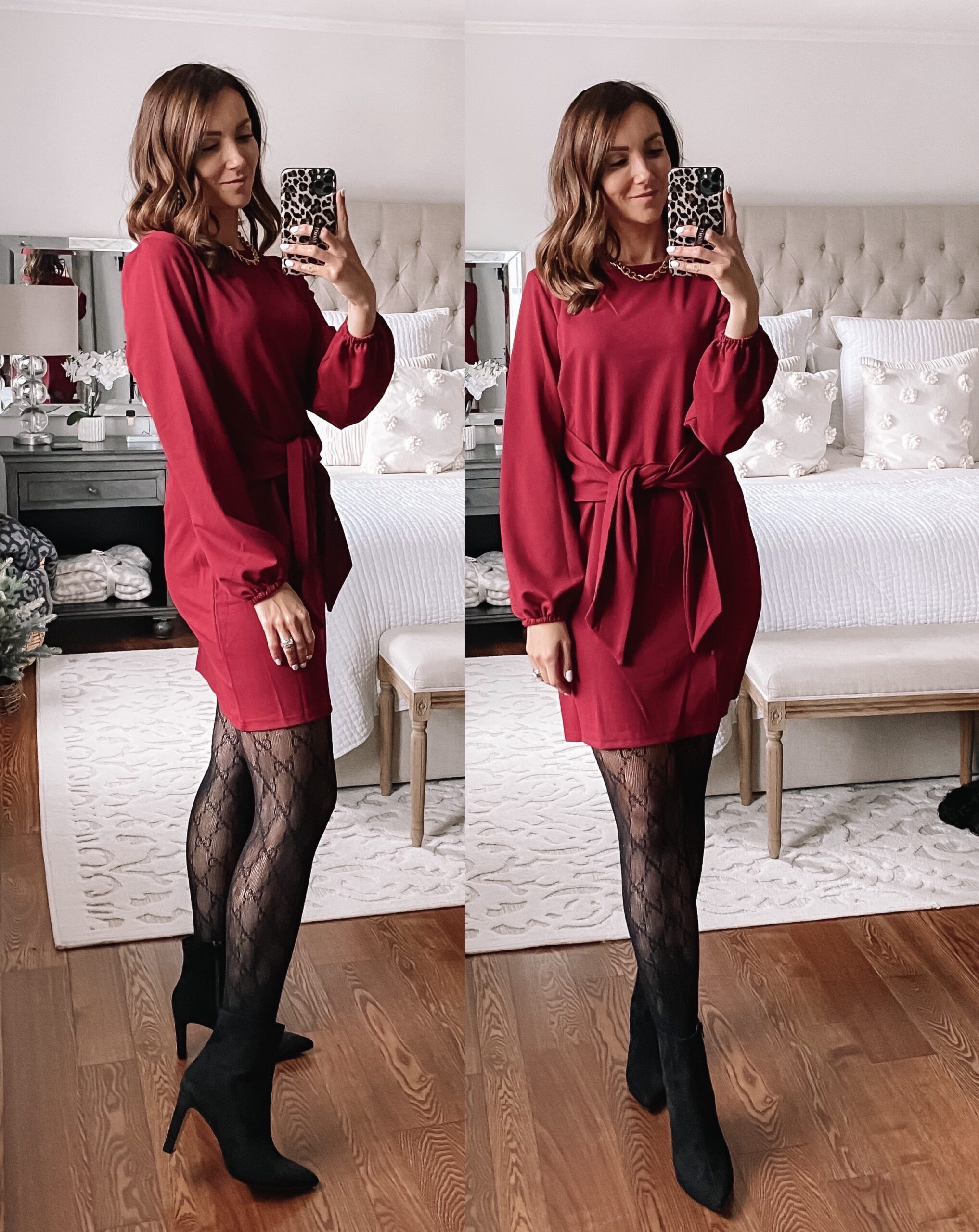amazon red dress with booties