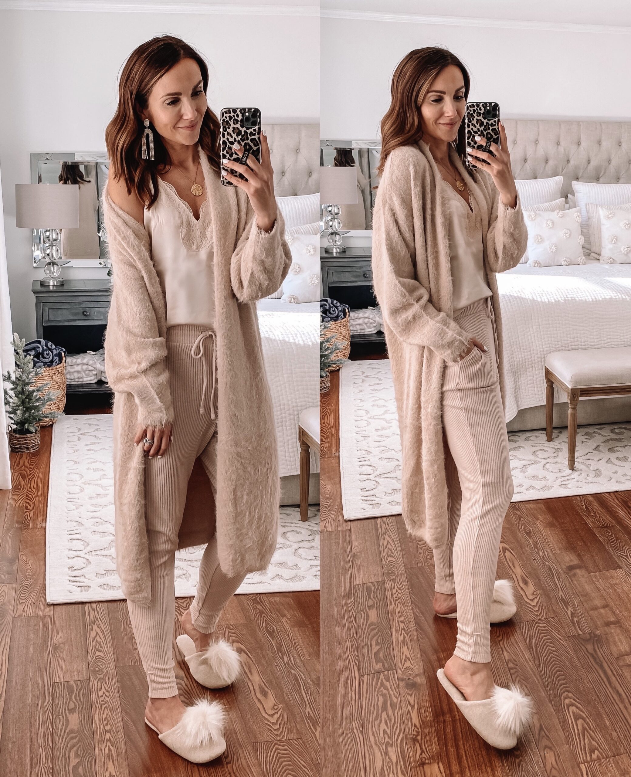cardigan, cami and joggers