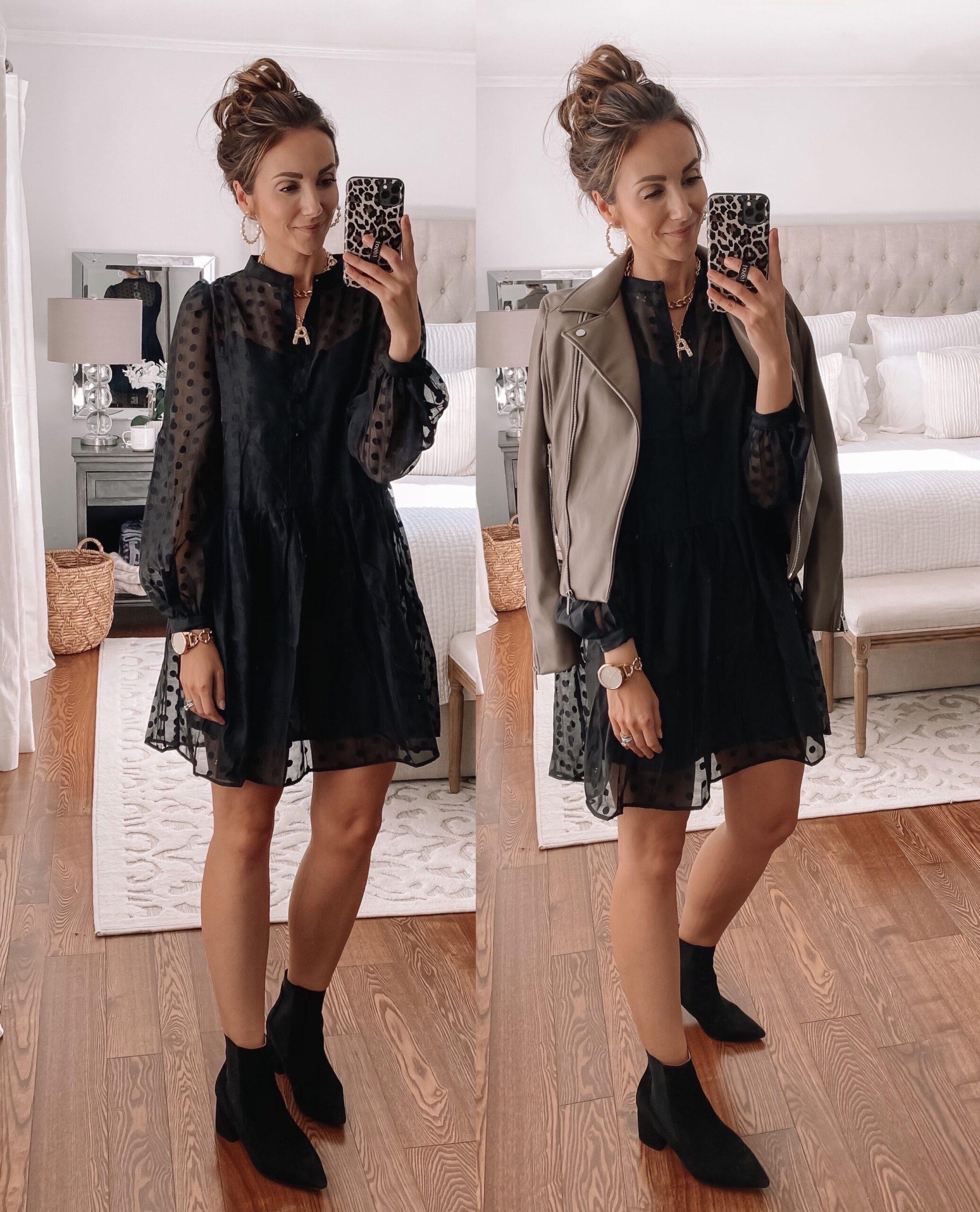 hm dress, faux leather jacket,black friday sale