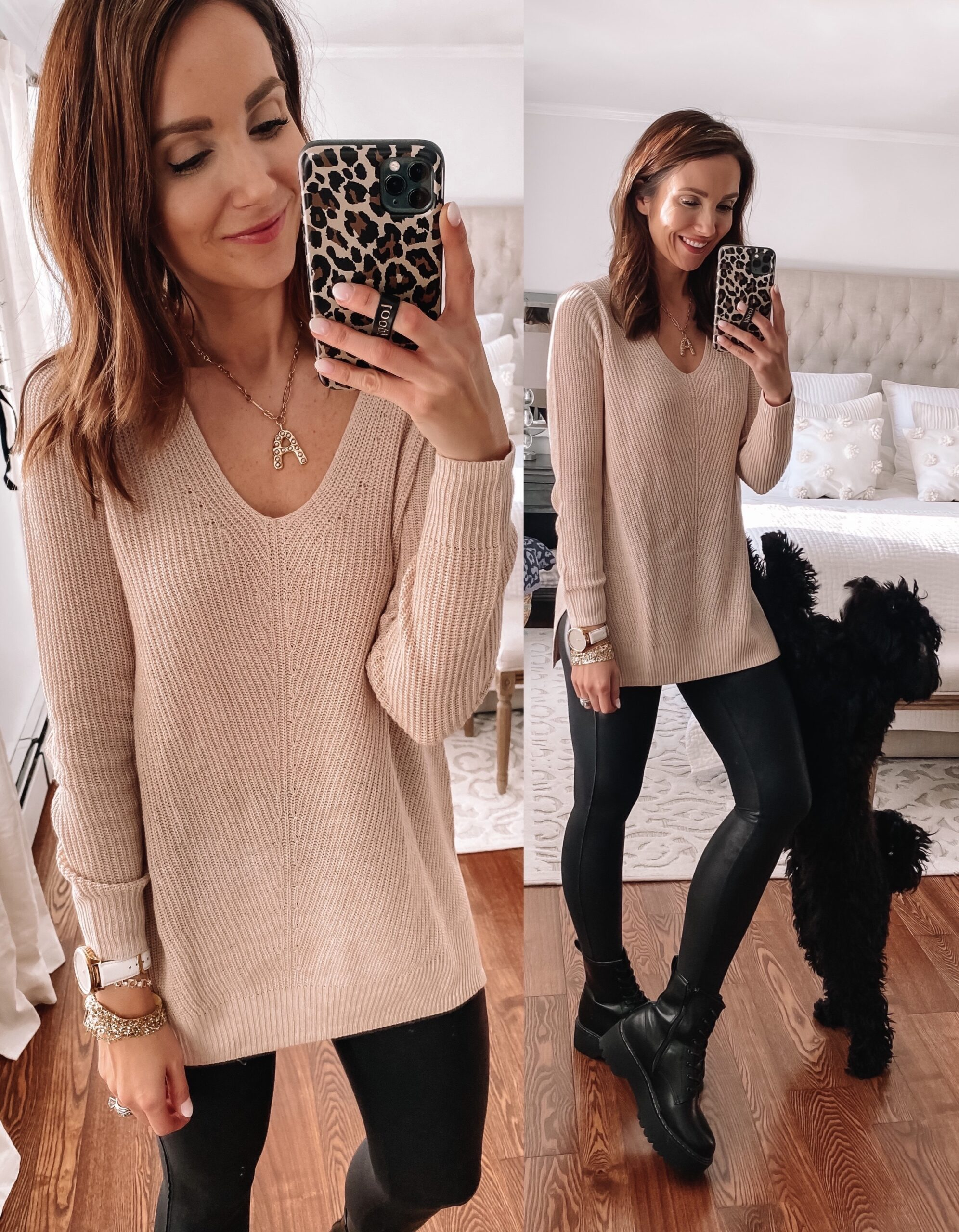 old navy sweater, faux leather leggings