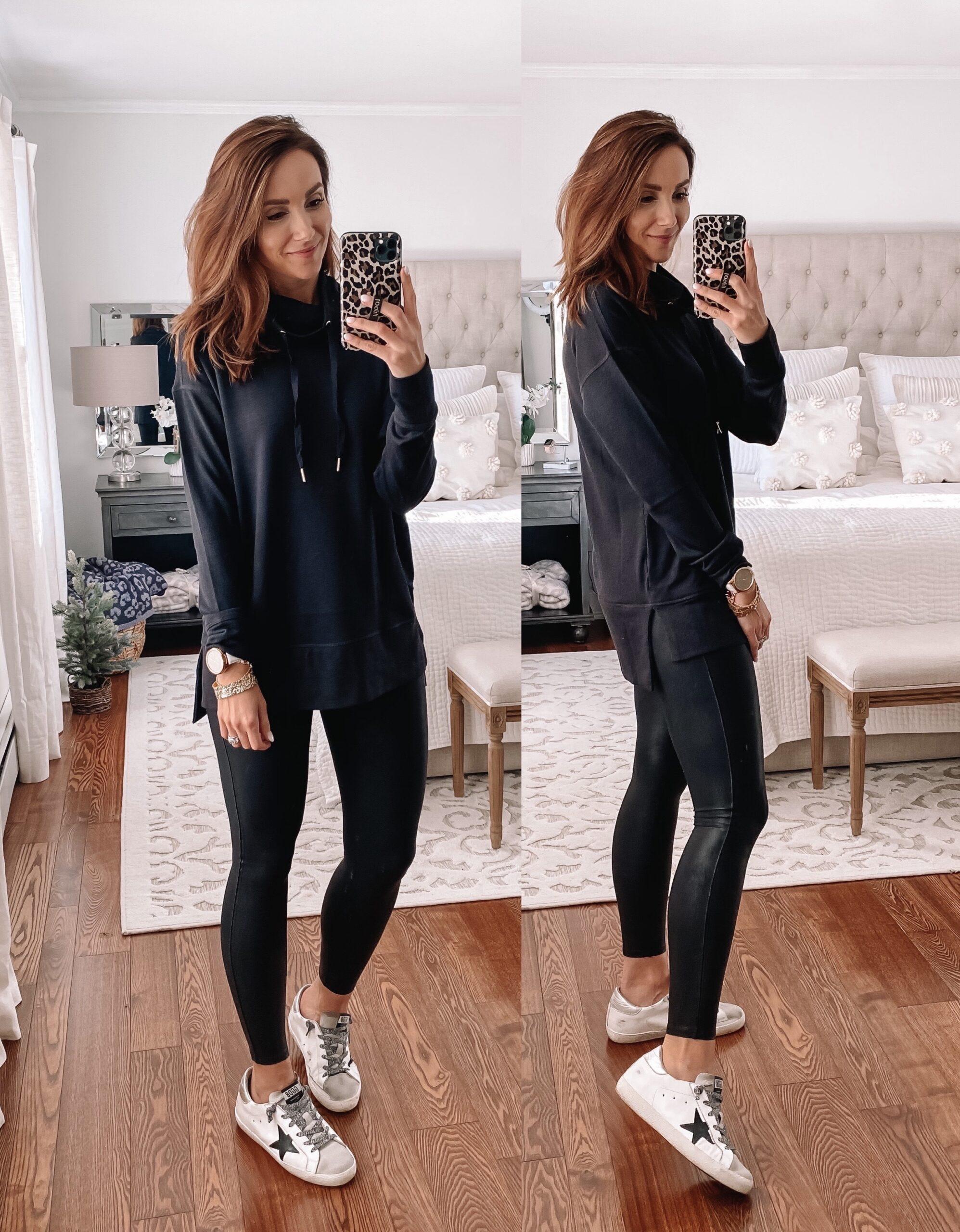 black sweatshirt, faux leather leggings