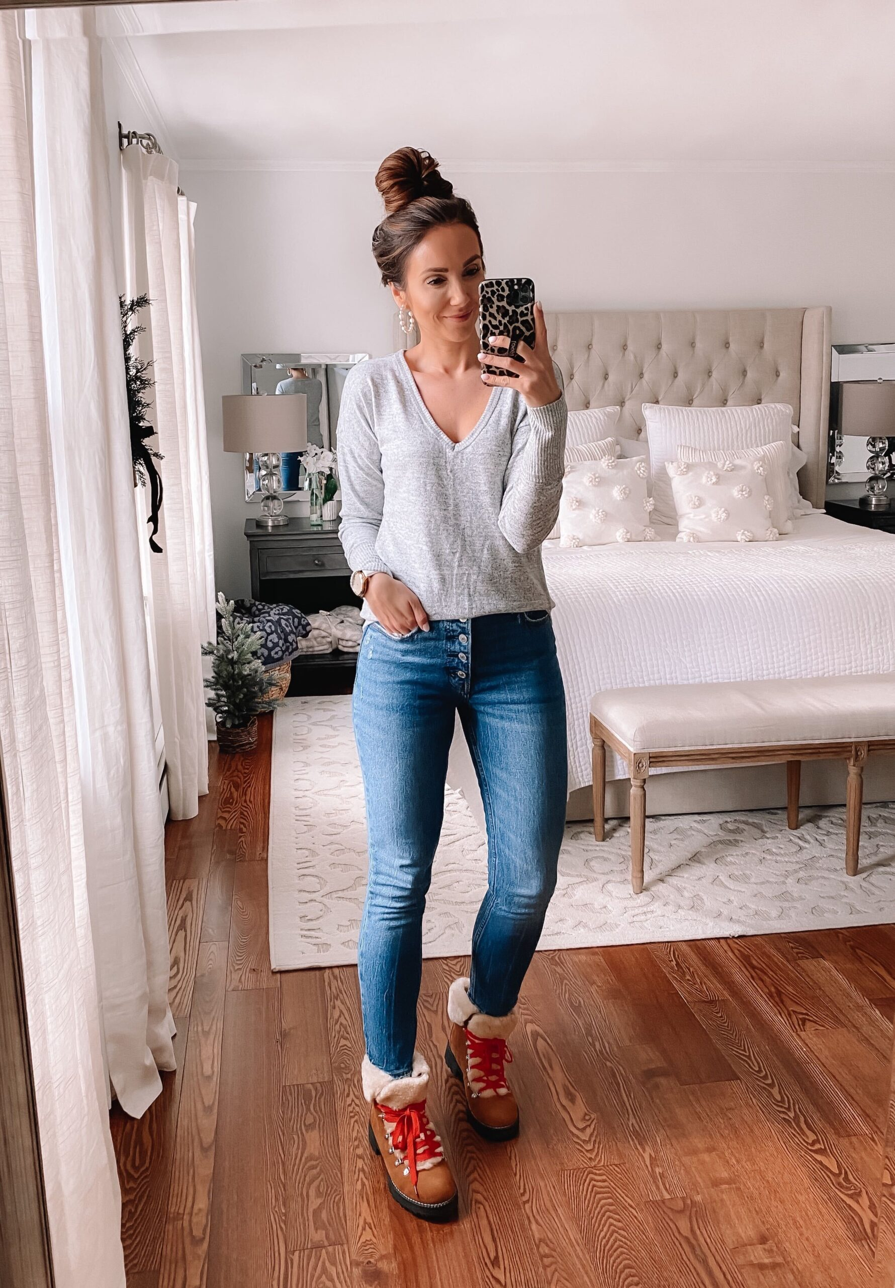 Abercrombie jeans and grey tee