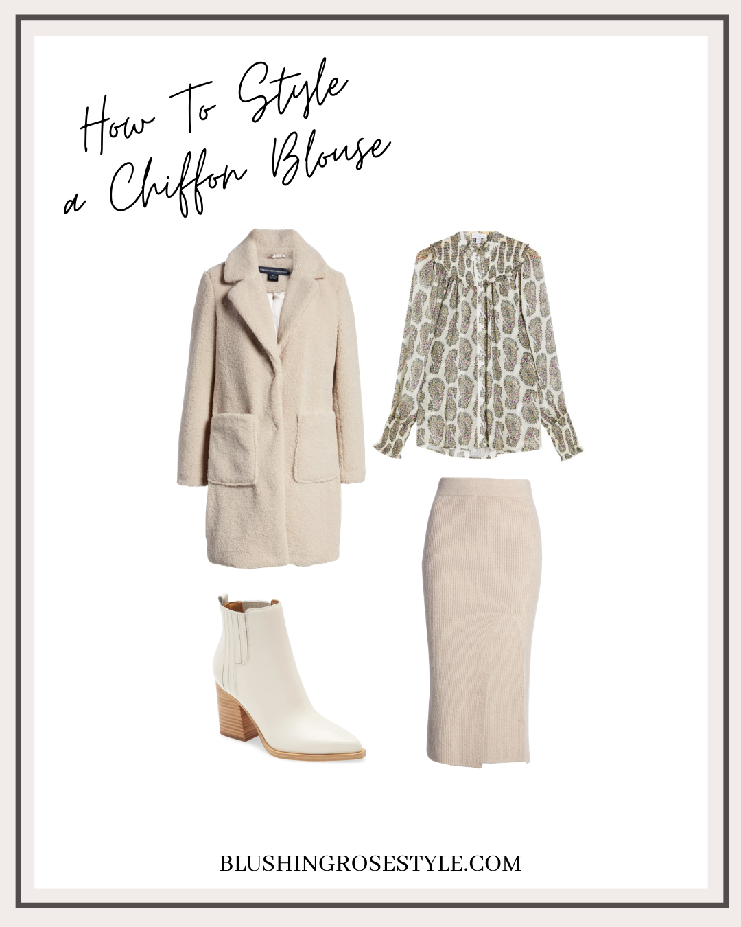 How to style pattered chiffon blouse