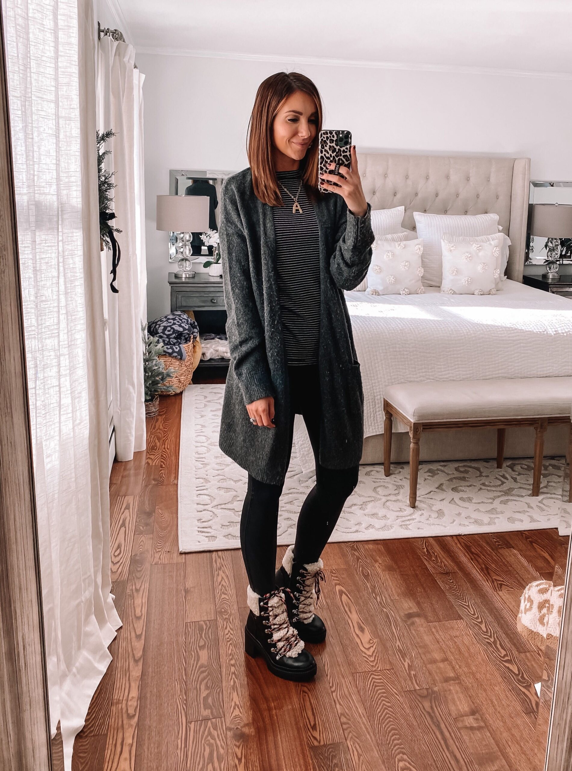 target style, combat boots with faux leather leggings