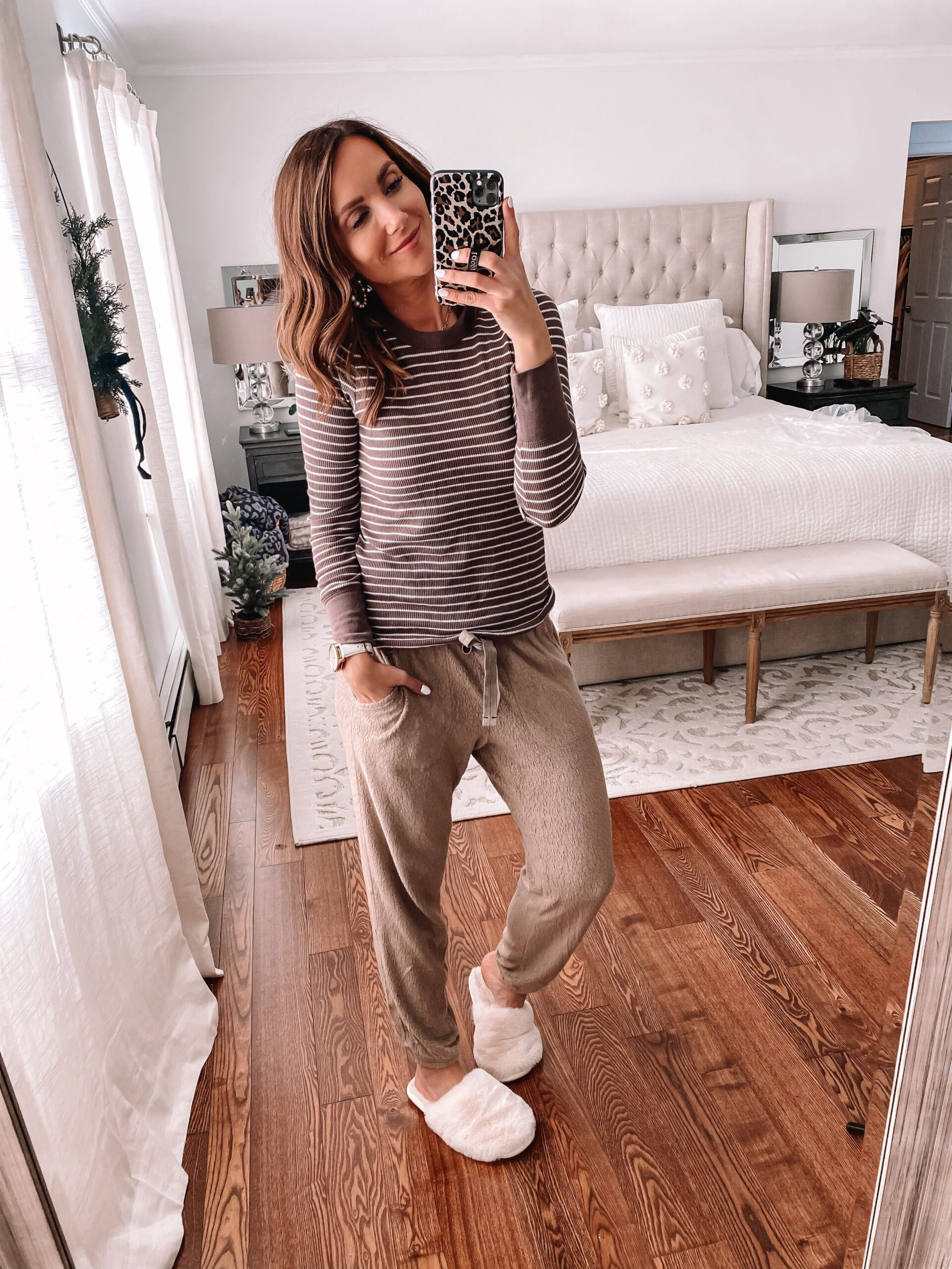 aerie thermal tee with joggers