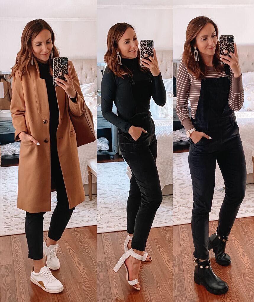 old navy camel coat, velvet overalls, fall style
