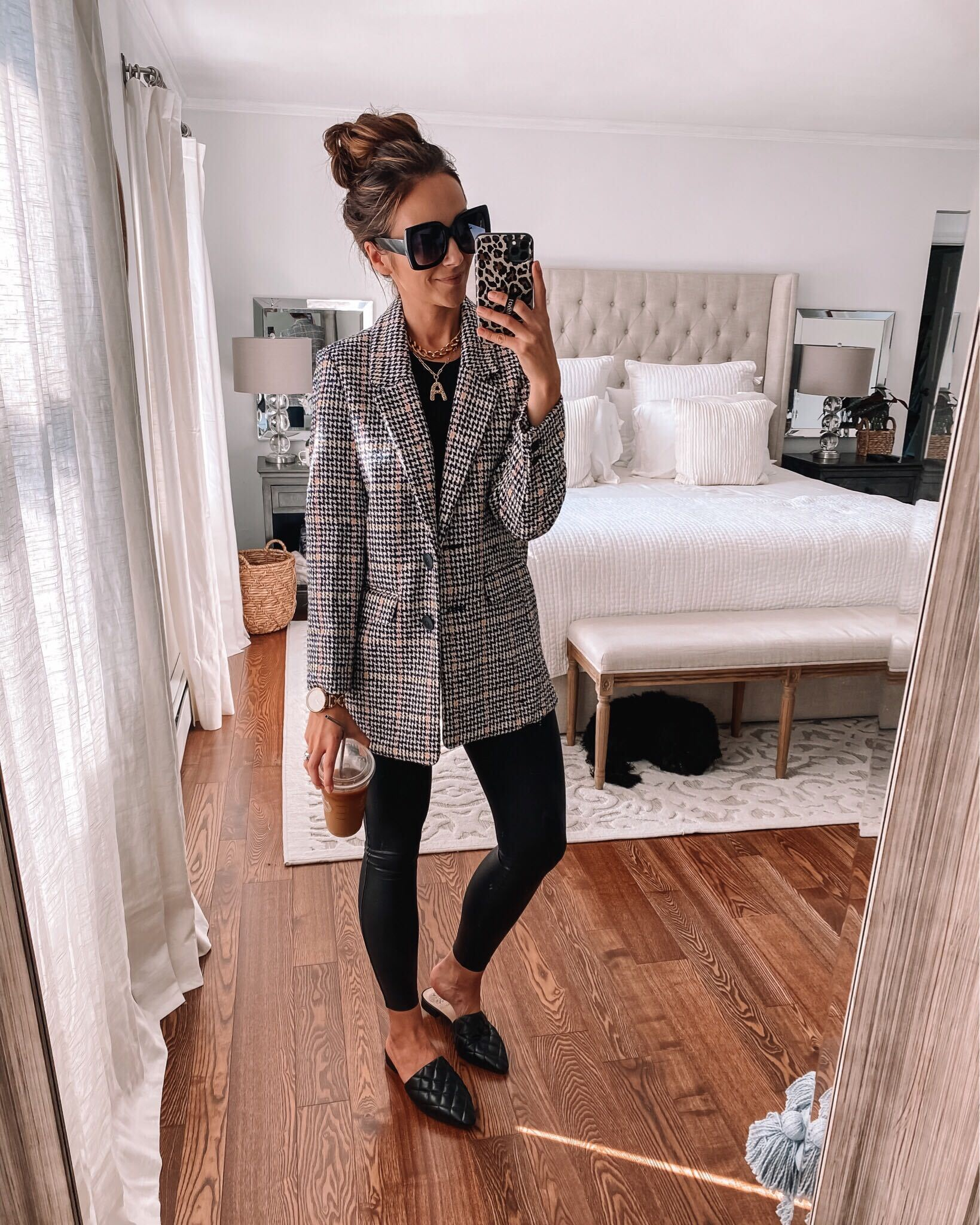 old navy blazer, faux leather leggings,fall outfit