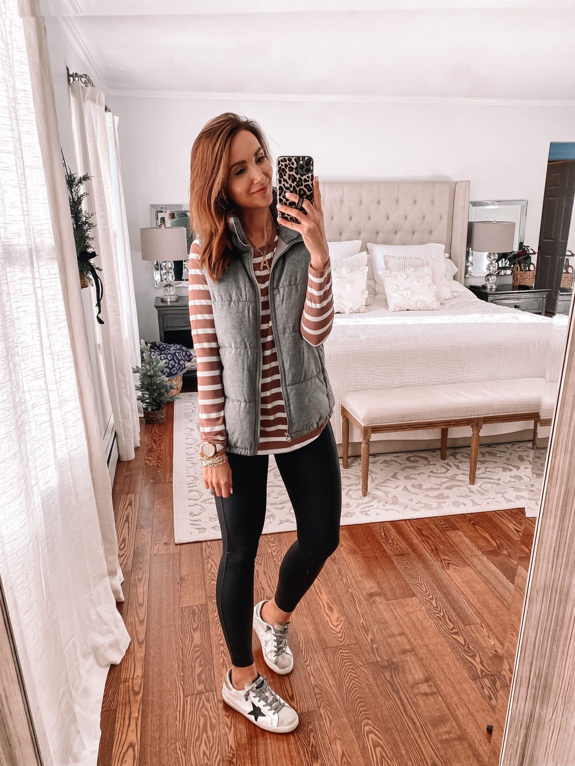 old navy puffer vest, faux leather leggings, casual outfit