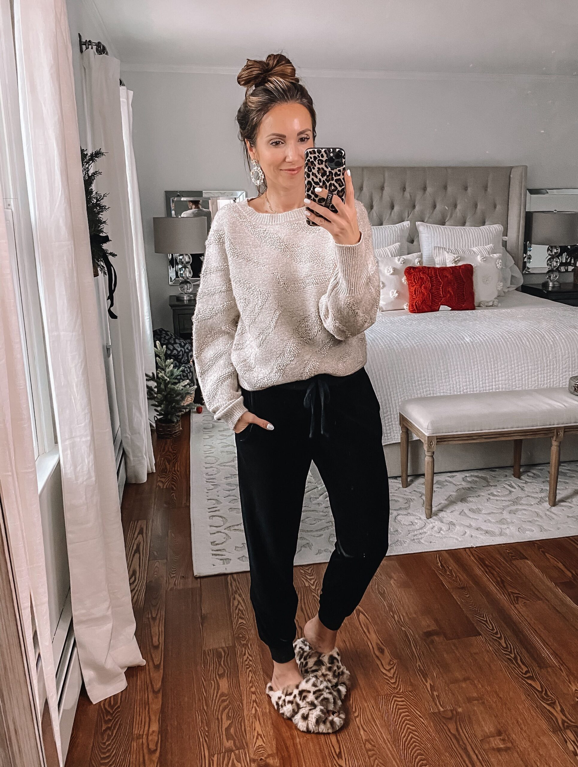 target neutral sweater and velvet joggers