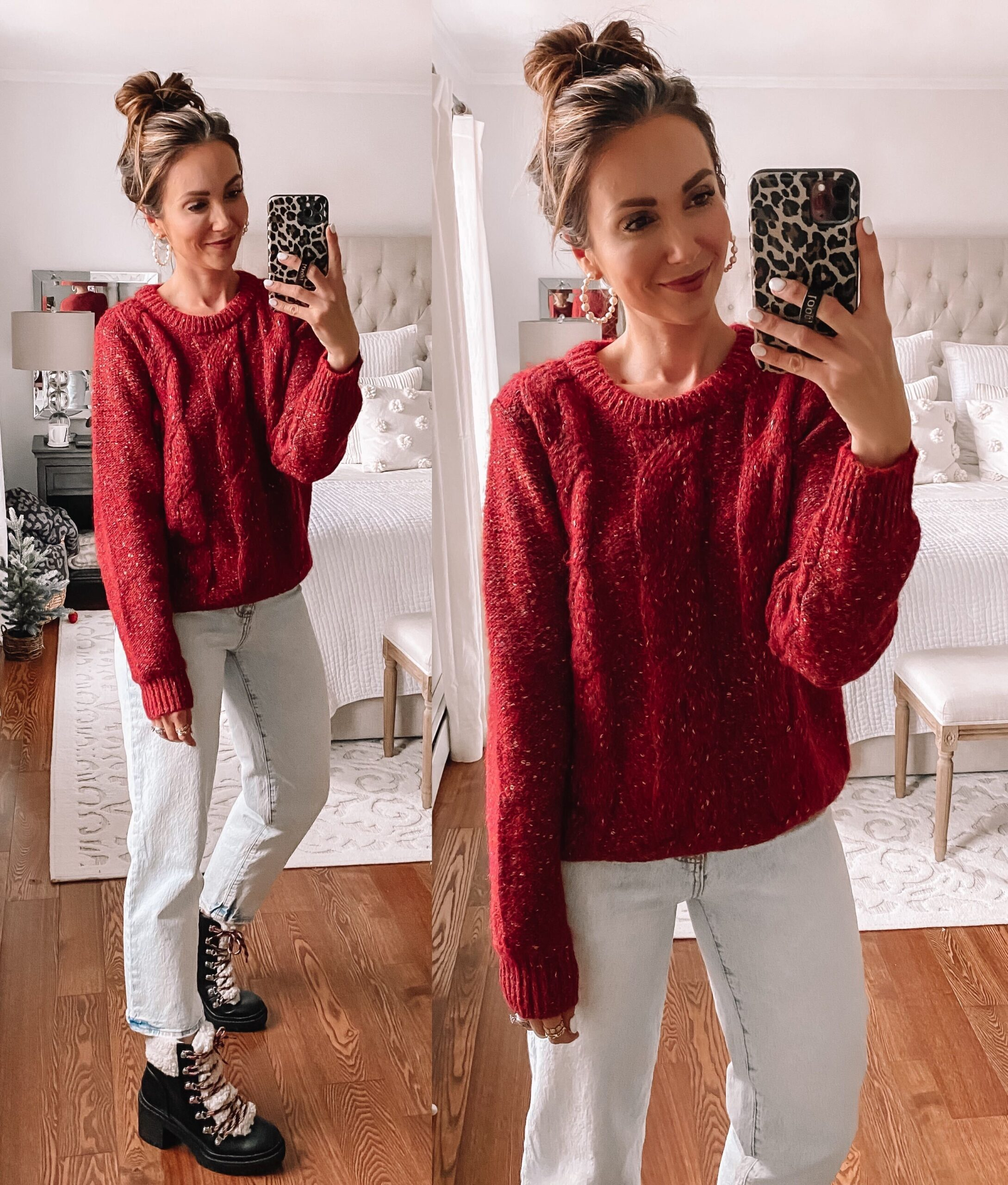 target red sweater with combat boots