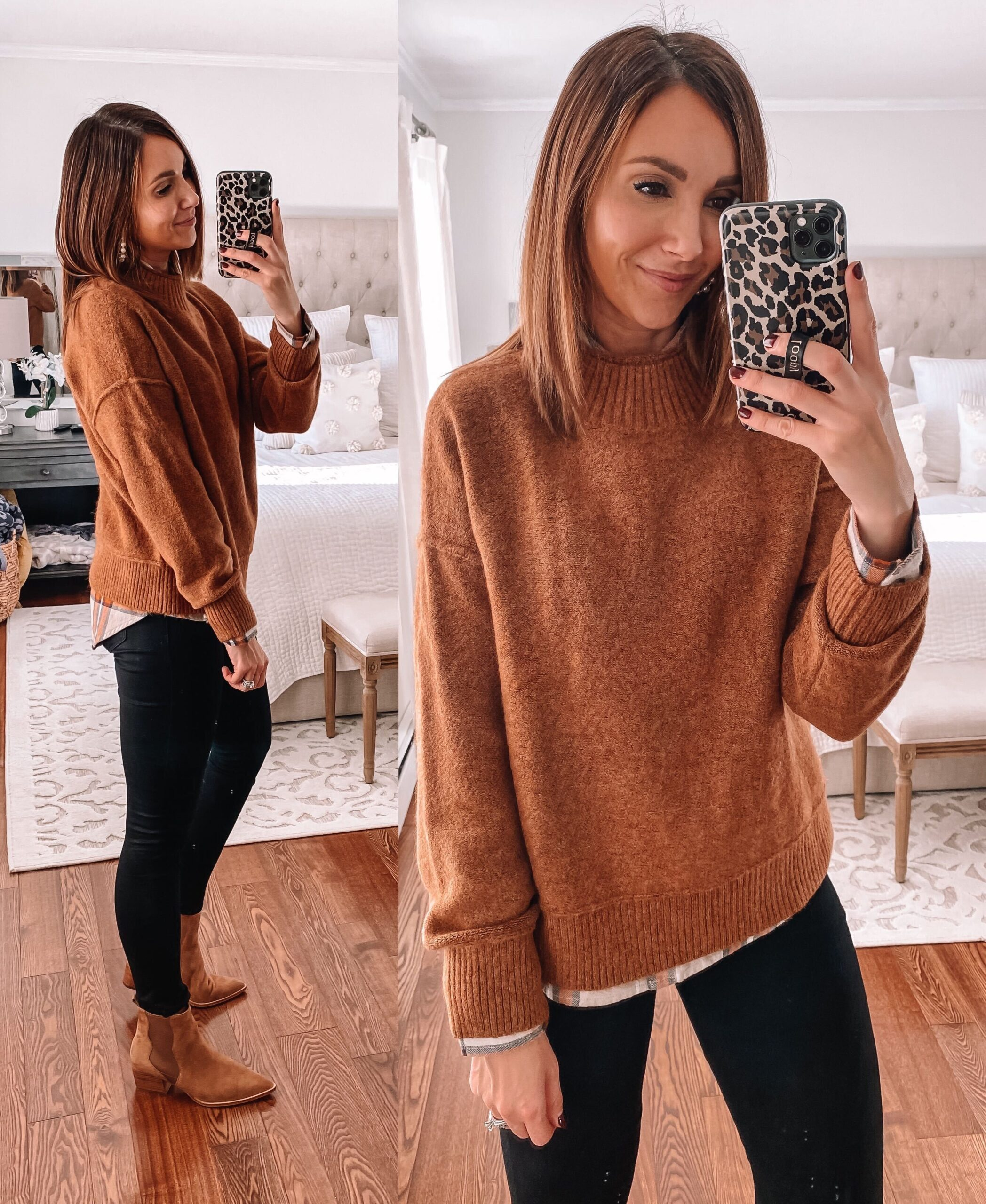 target style, brown sweater with black jeans