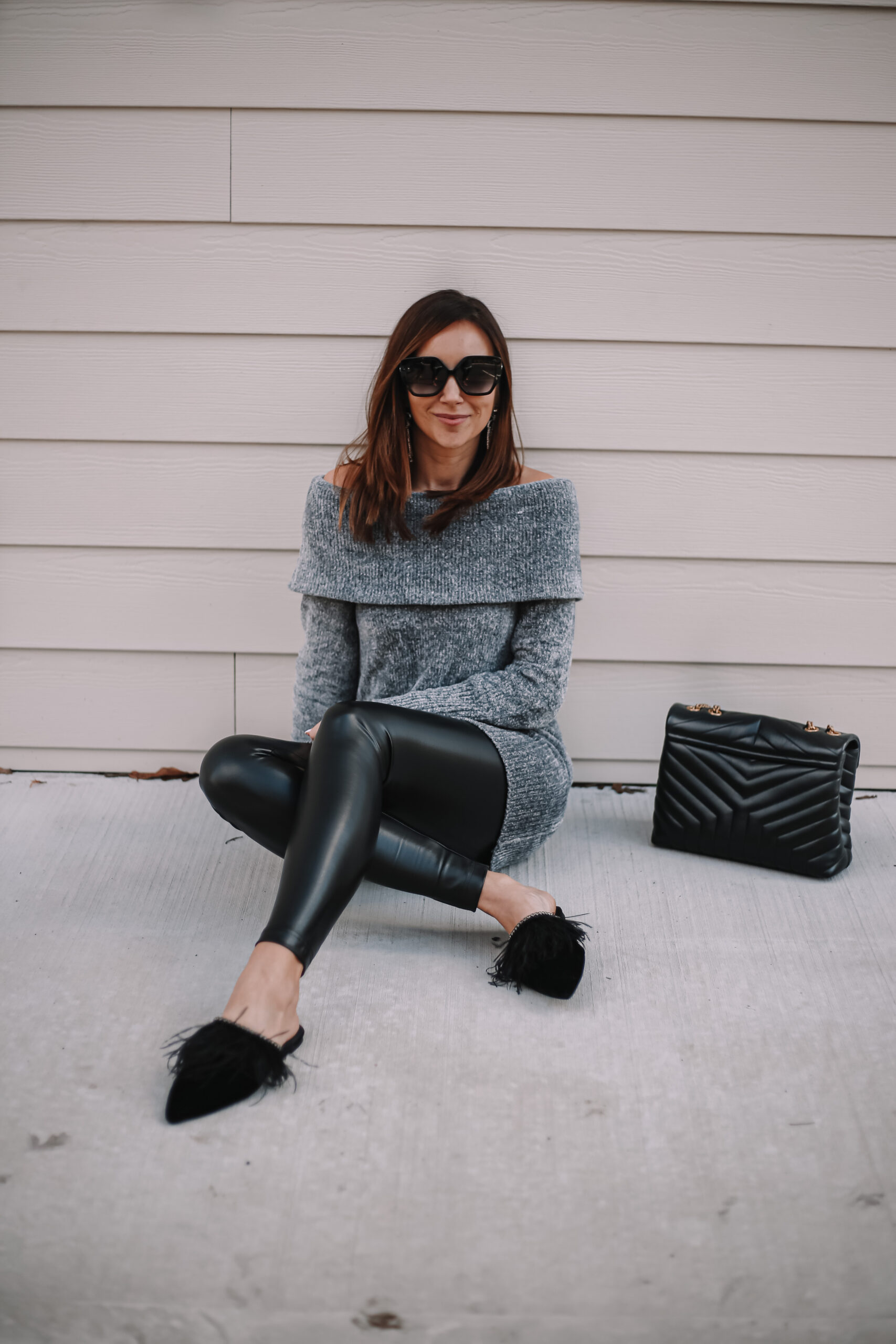 WHBM SWEATER, cozy outfit, faux leather leggings