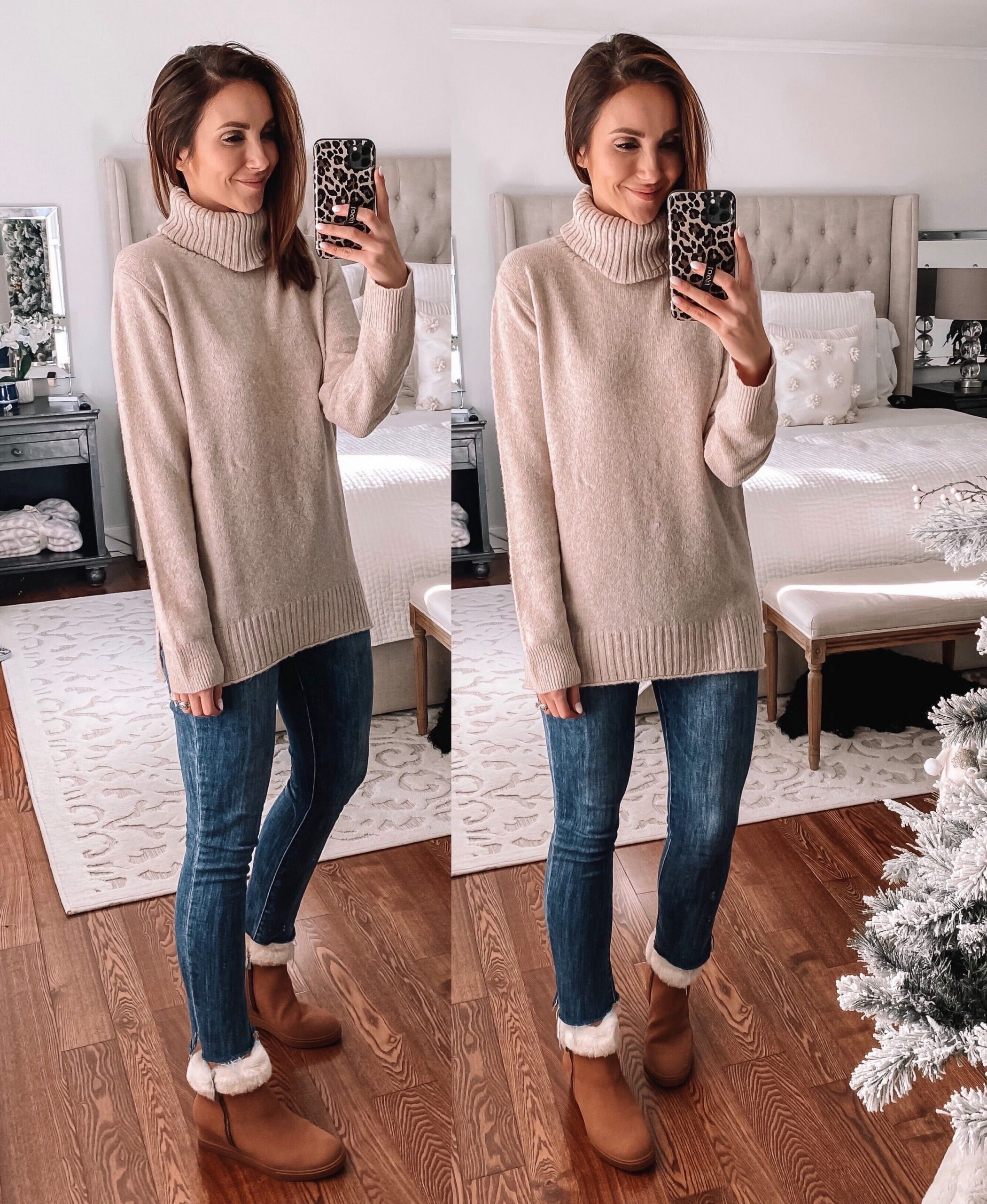 turtleneck sweater, faux fur booties