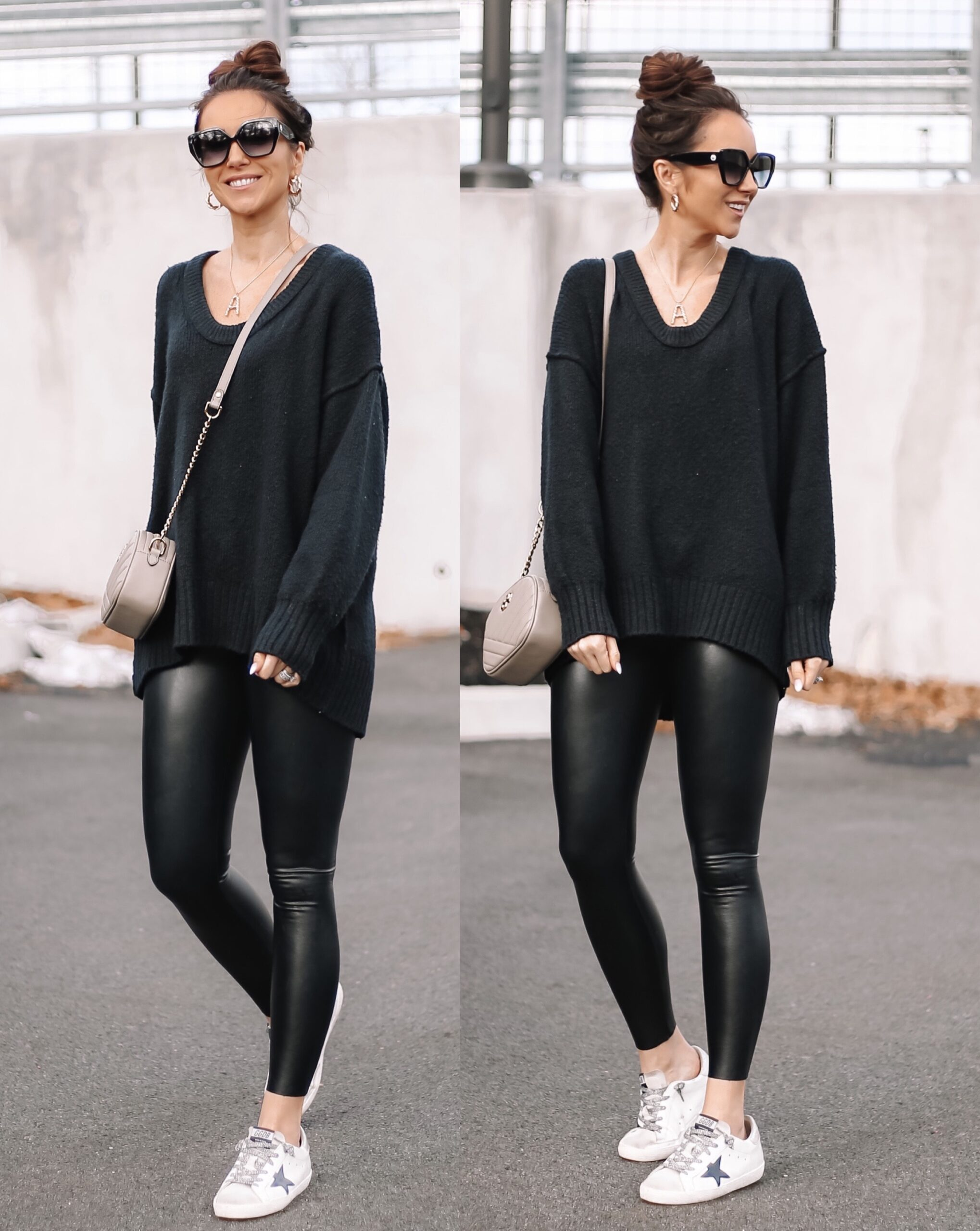 free people sweater, faux leather leggings