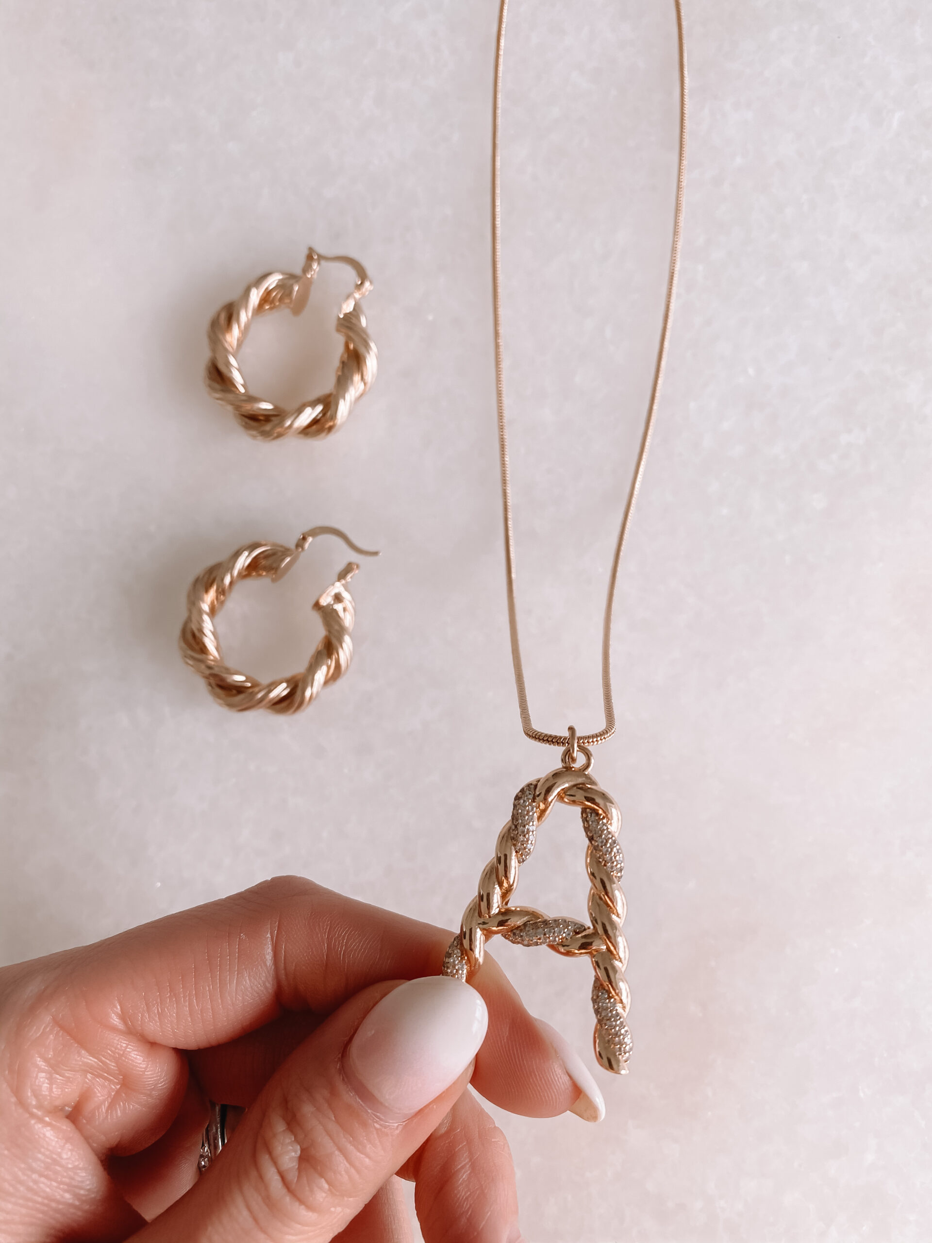 initial necklace and earrings