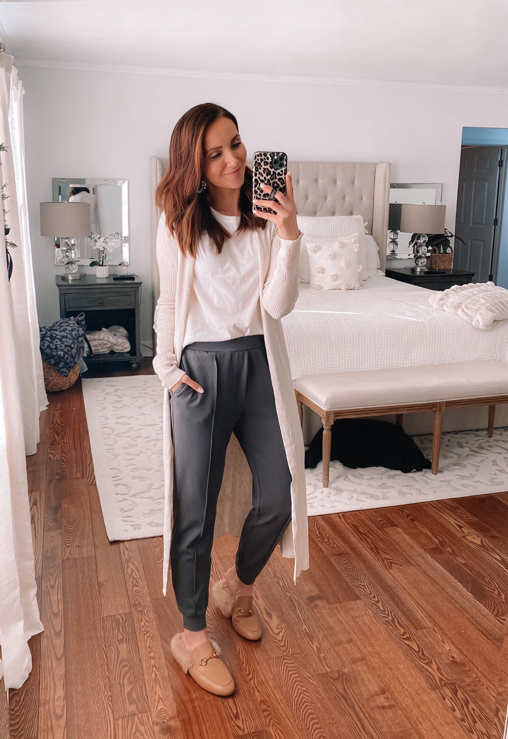 casual style, joggers, duster, white tee