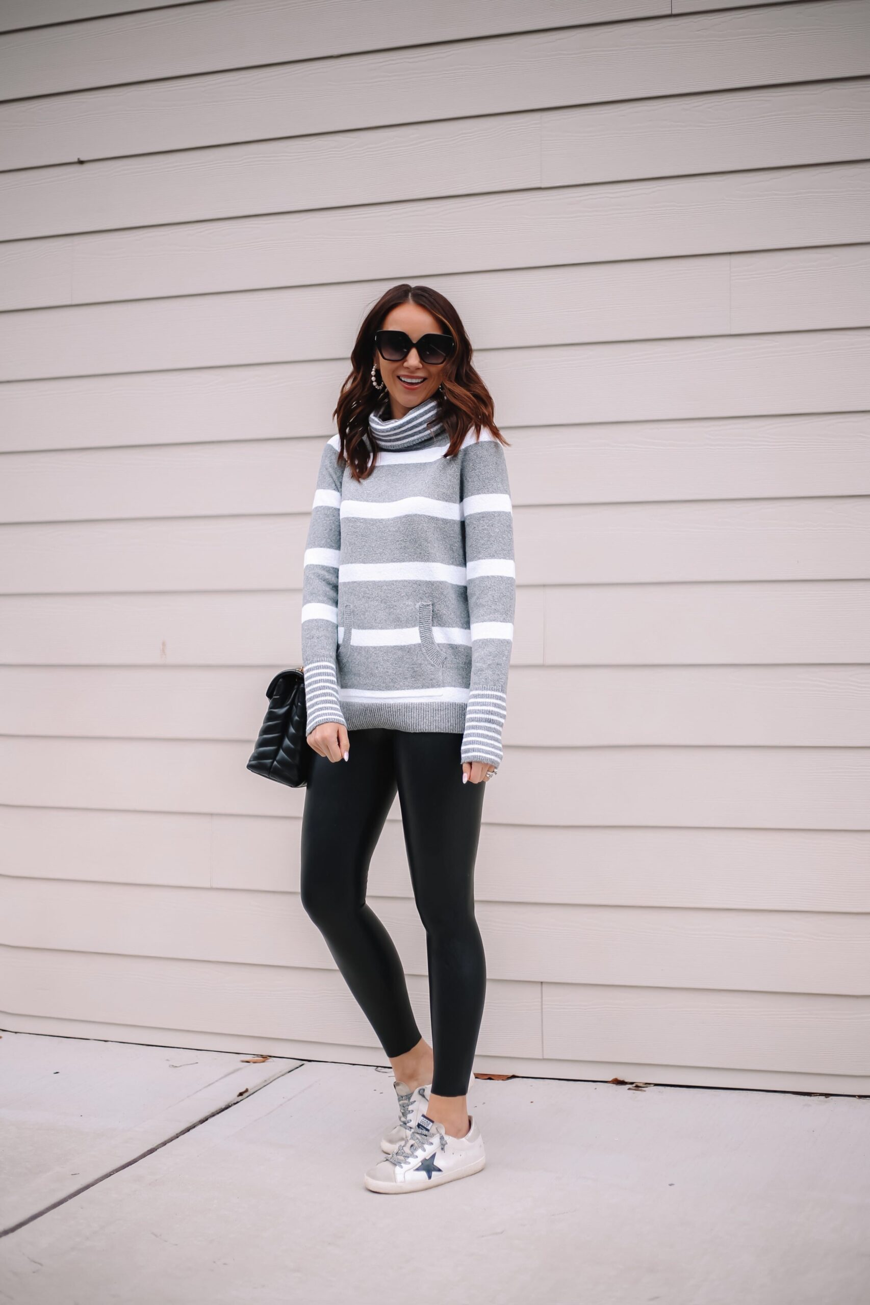 LOFT STRIPE SWEATER, outfit with faux leather leggings