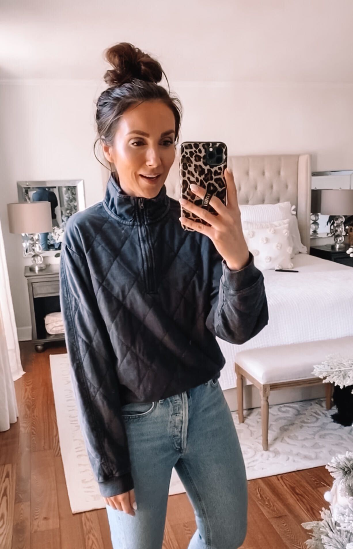 target style, quilted jacket with jeans