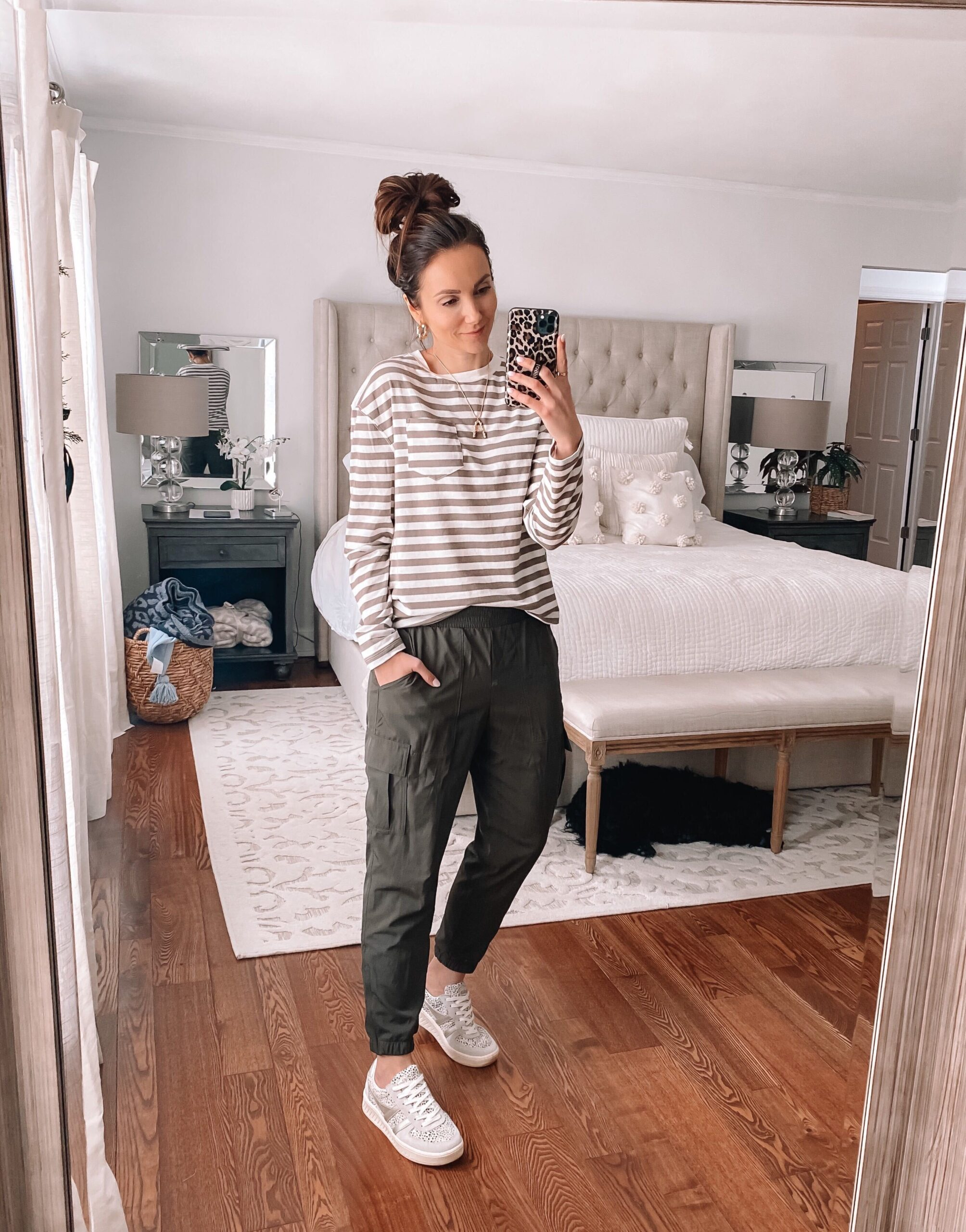 Target style, stripe tee with joggers