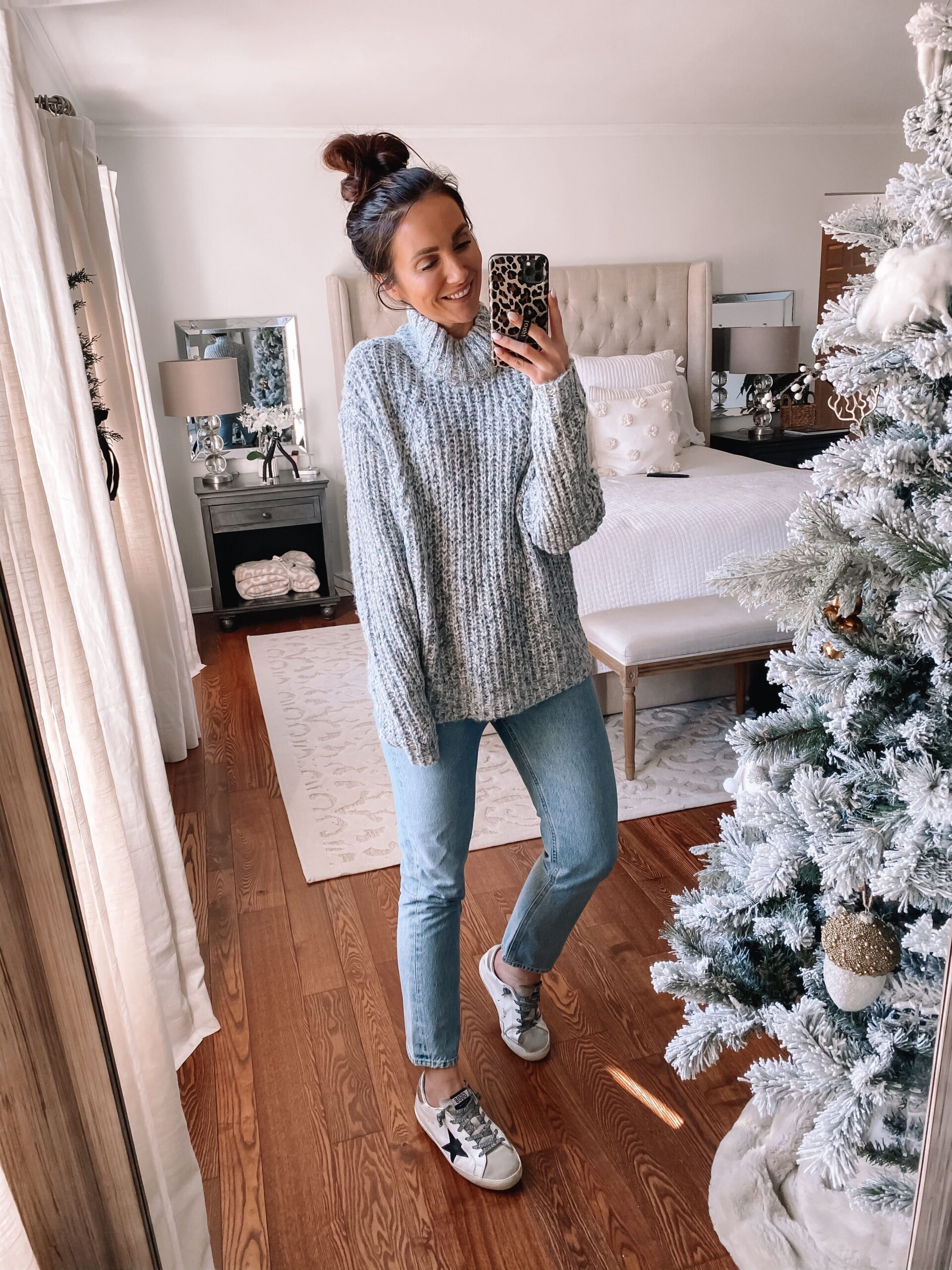 target style, grey sweater with jeans
