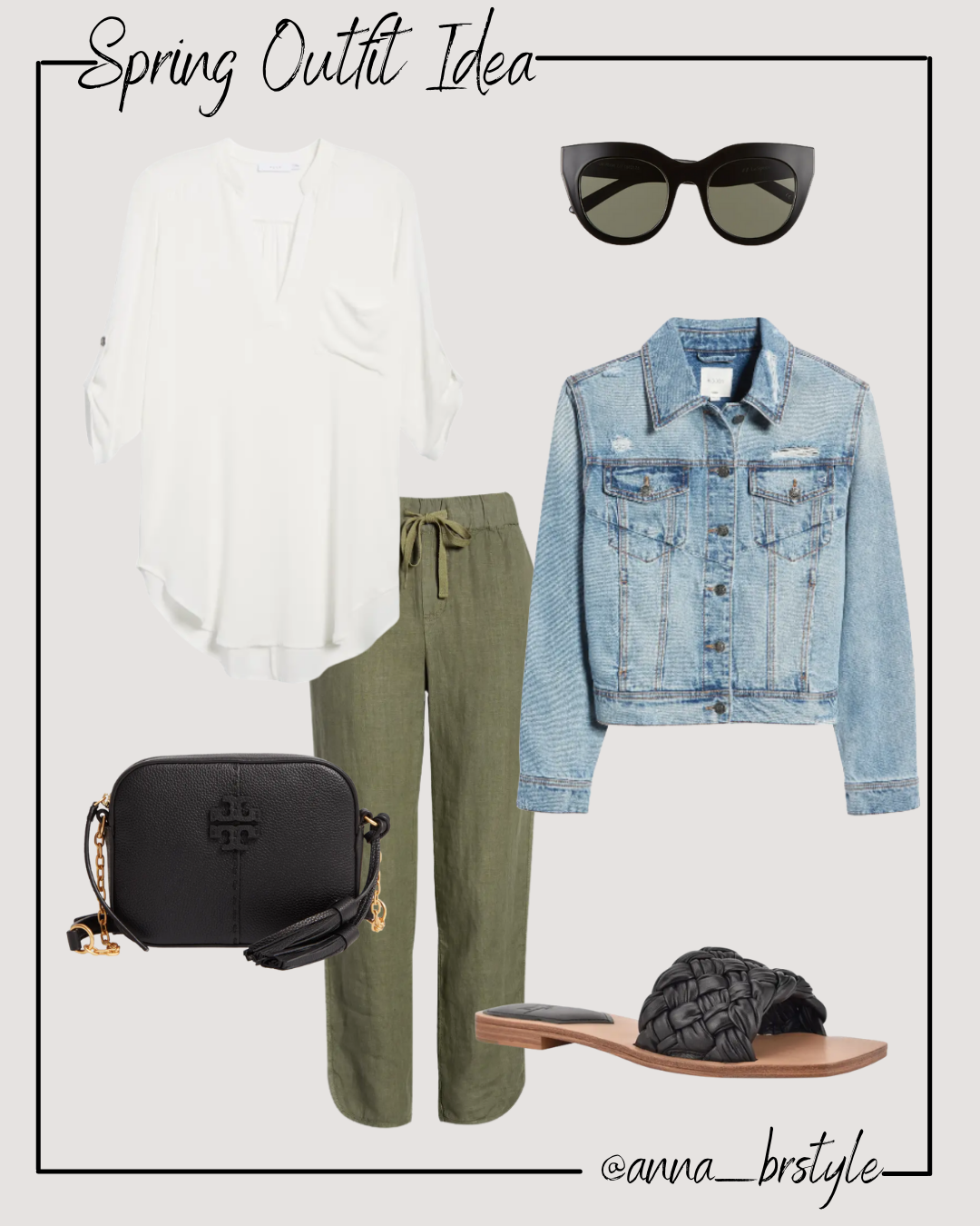 spring outfit with green joggers