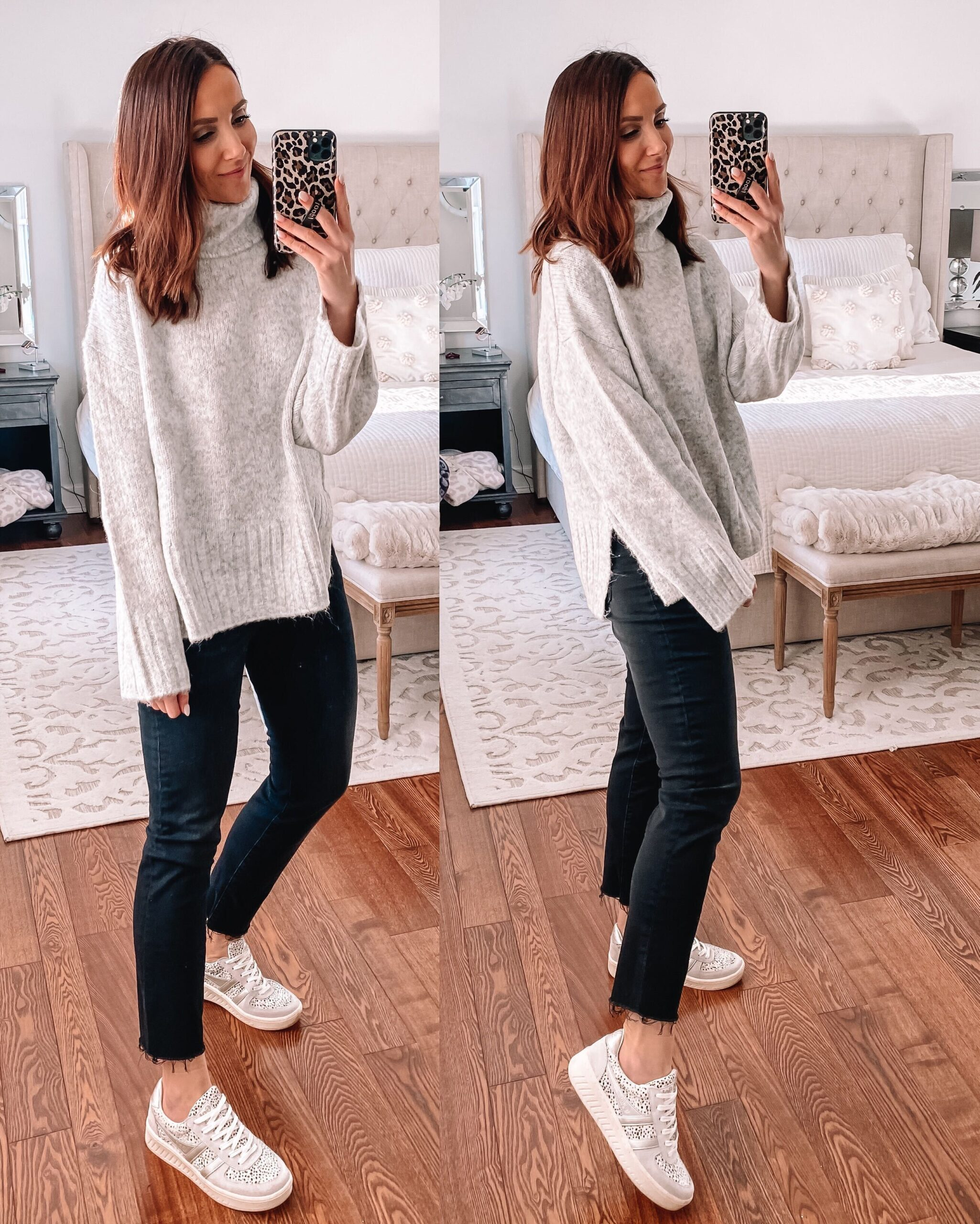 grey sweater with black jeans