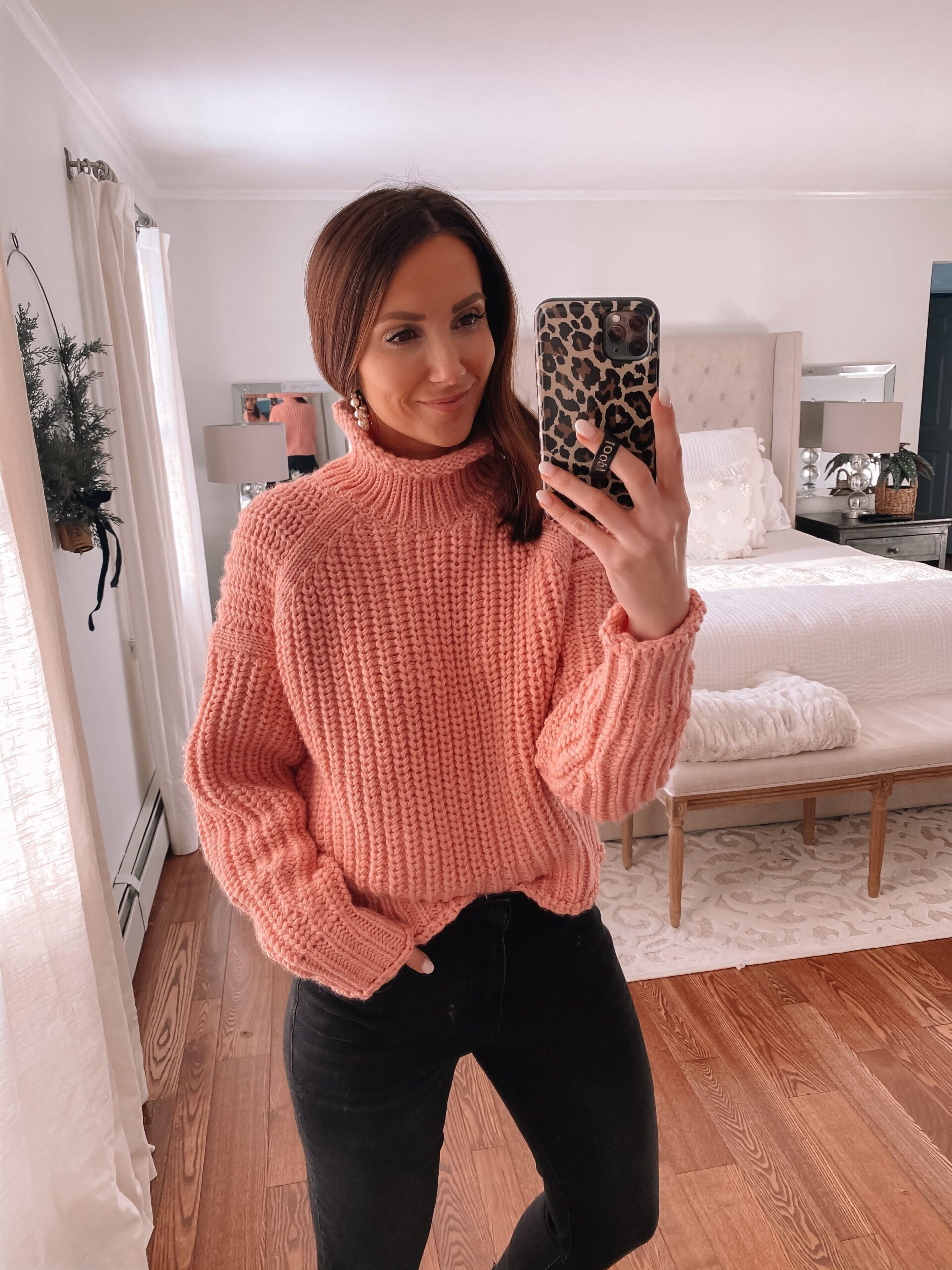 h&m pink sweater, sweater and jeans