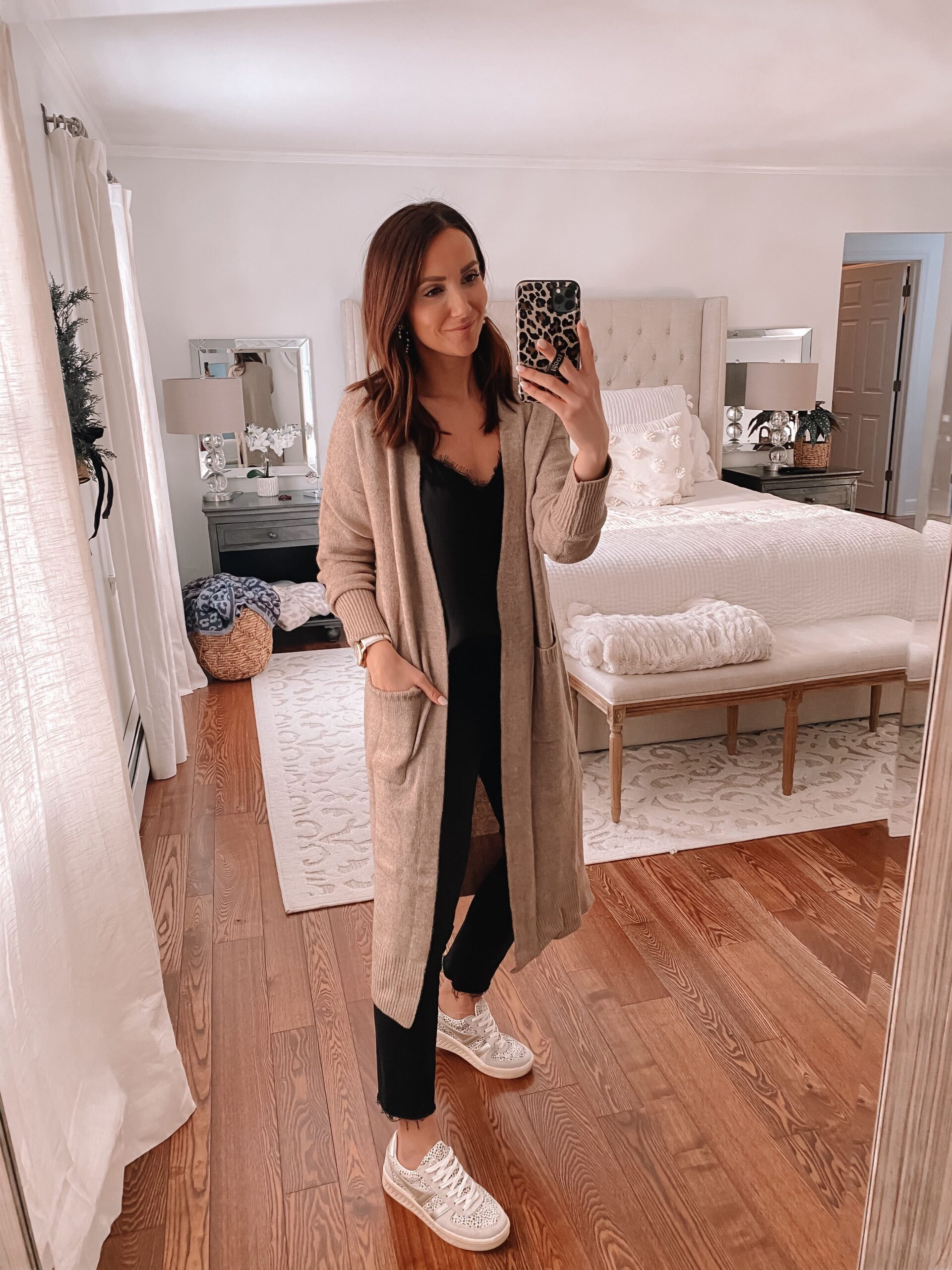 duster length cardigan, casual outfit idea