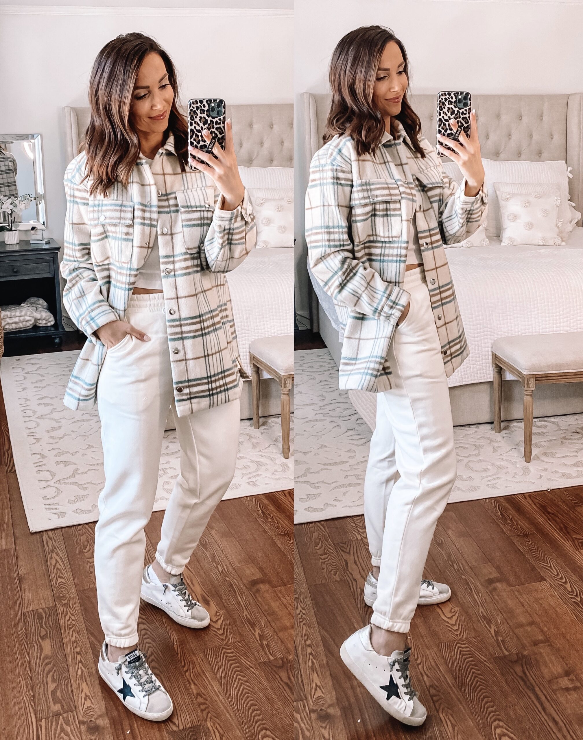 forever 21 shacket, cream joggers, athleisure style
