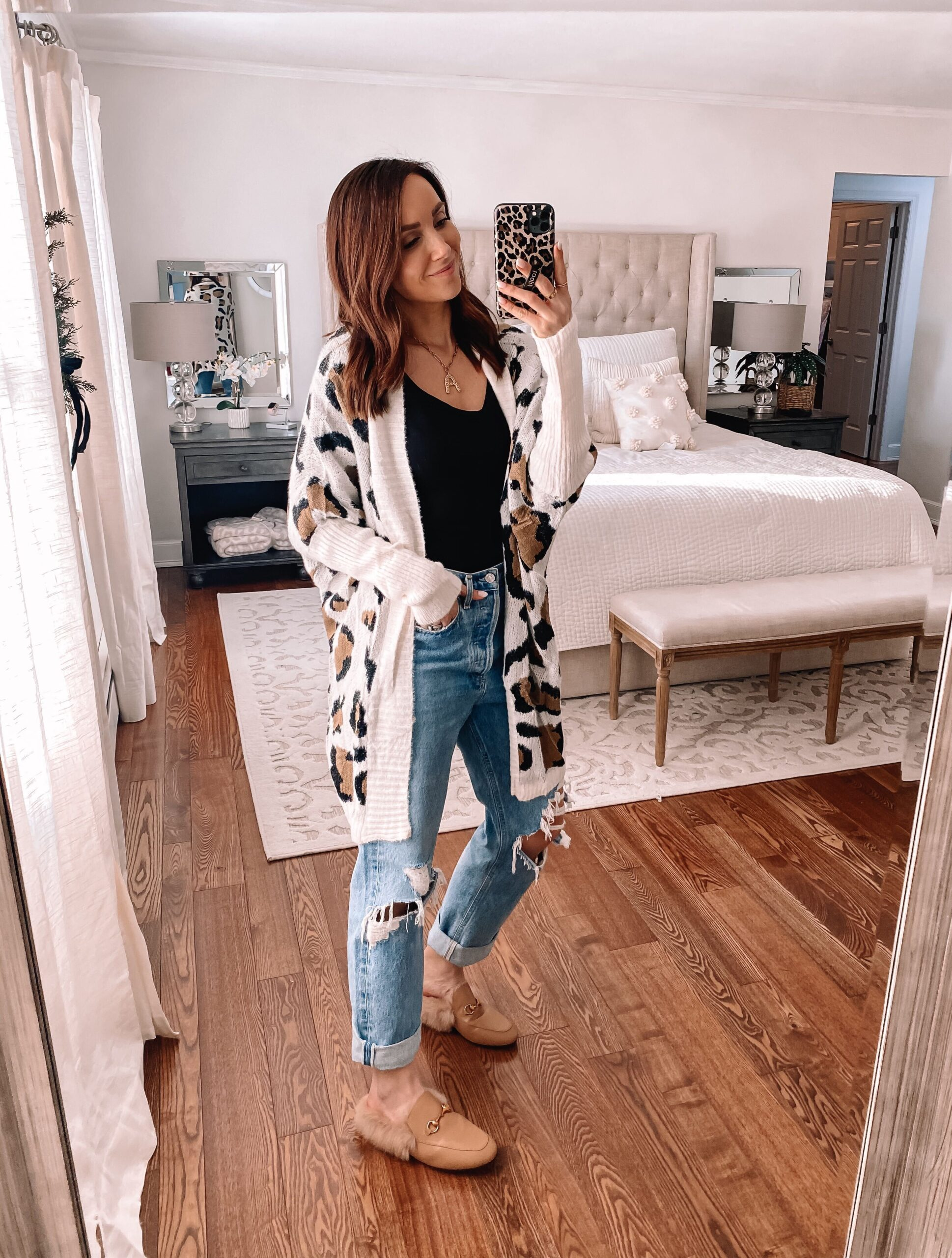 amazon fashion, leopard cardigan