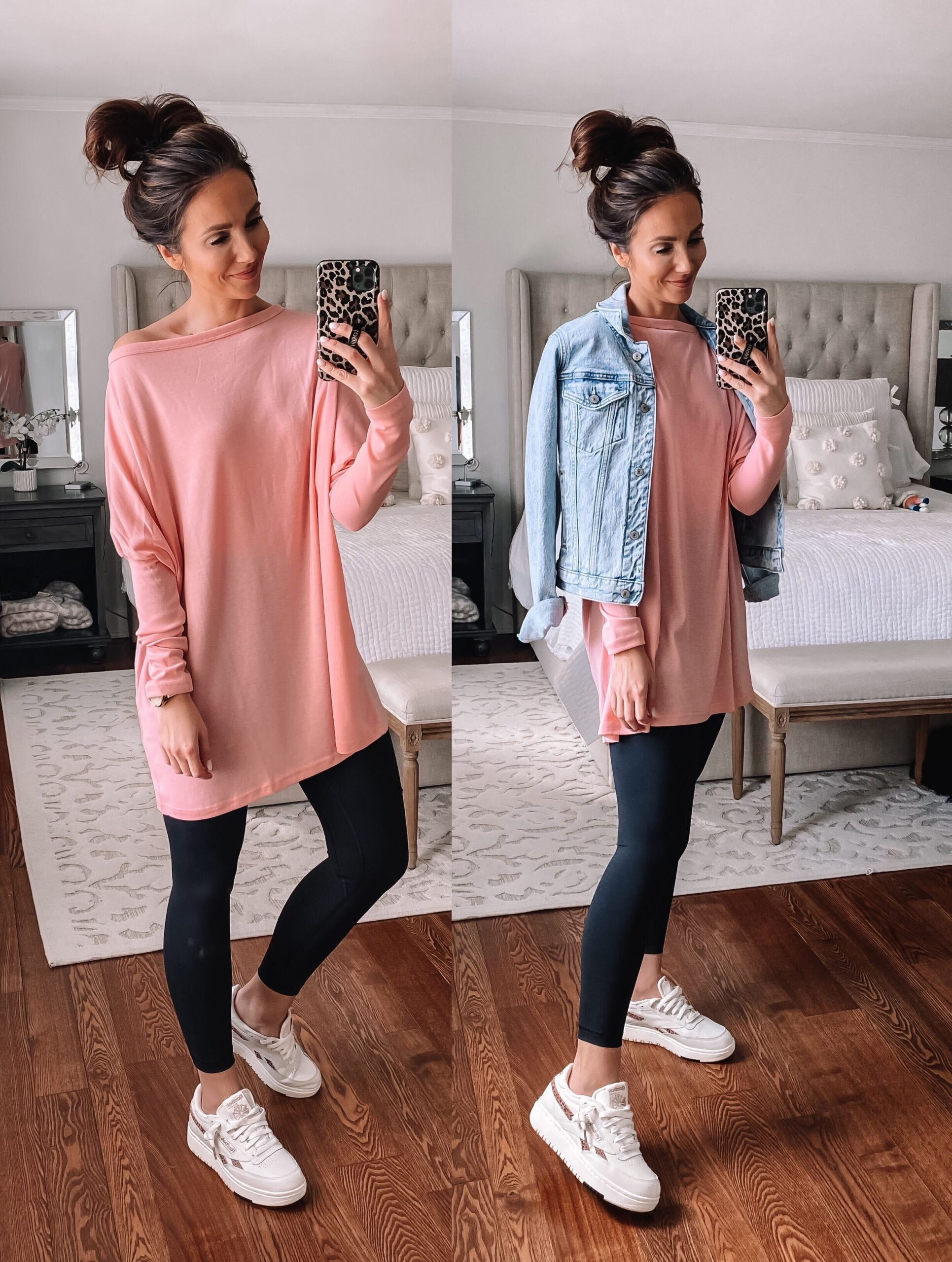 amazon pink tunic with amazon leggings, amazon fashion
