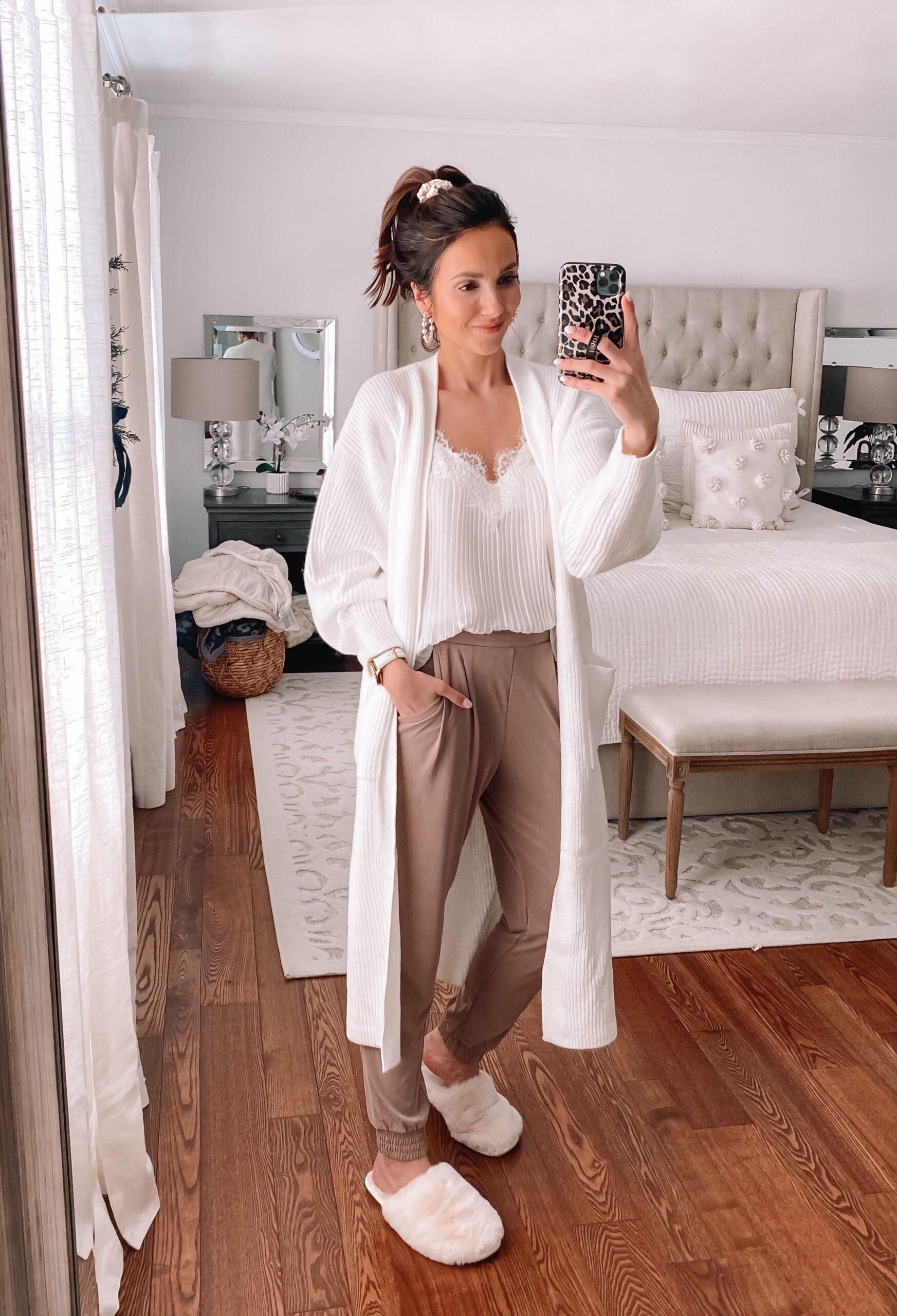express loungewear, white cardigan, white slippers