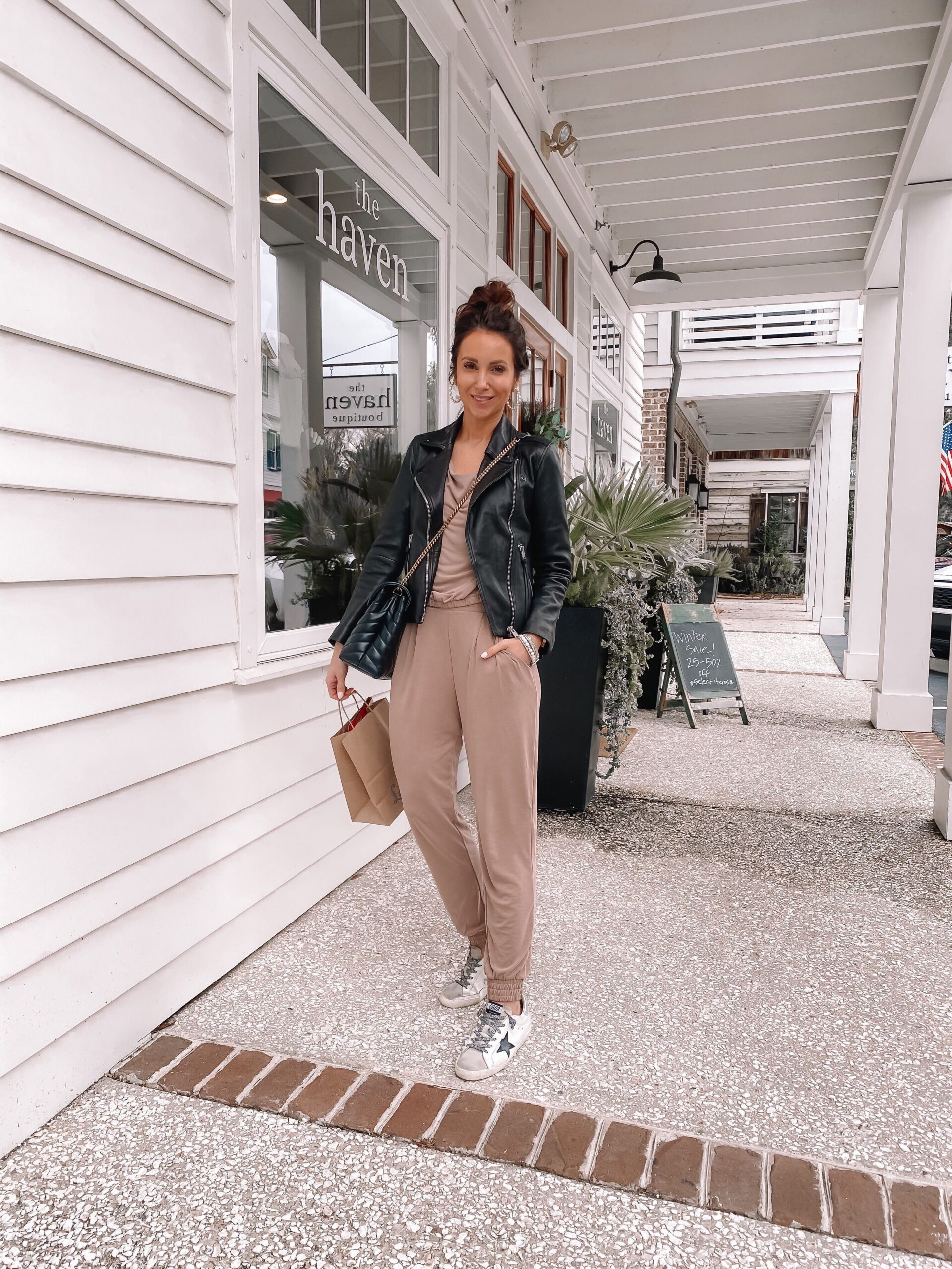 express loungewear with faux leather jacket