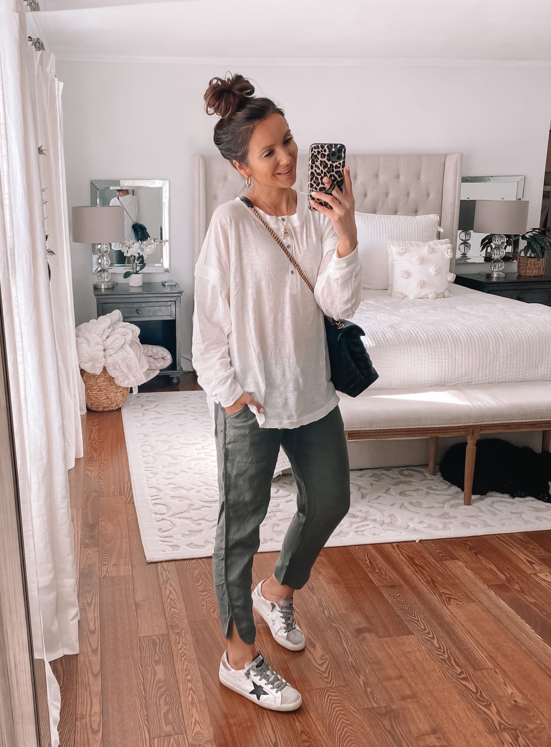 spring outfit, casual outfit, linen pants