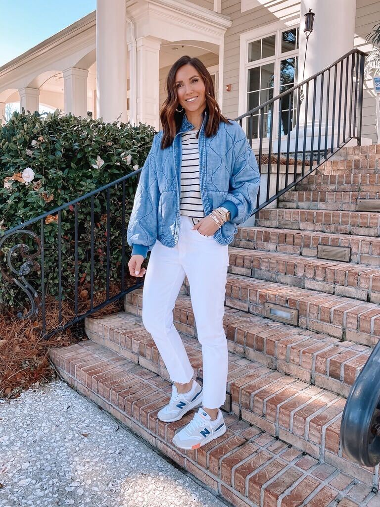 quilted jacket and white denim jeans
