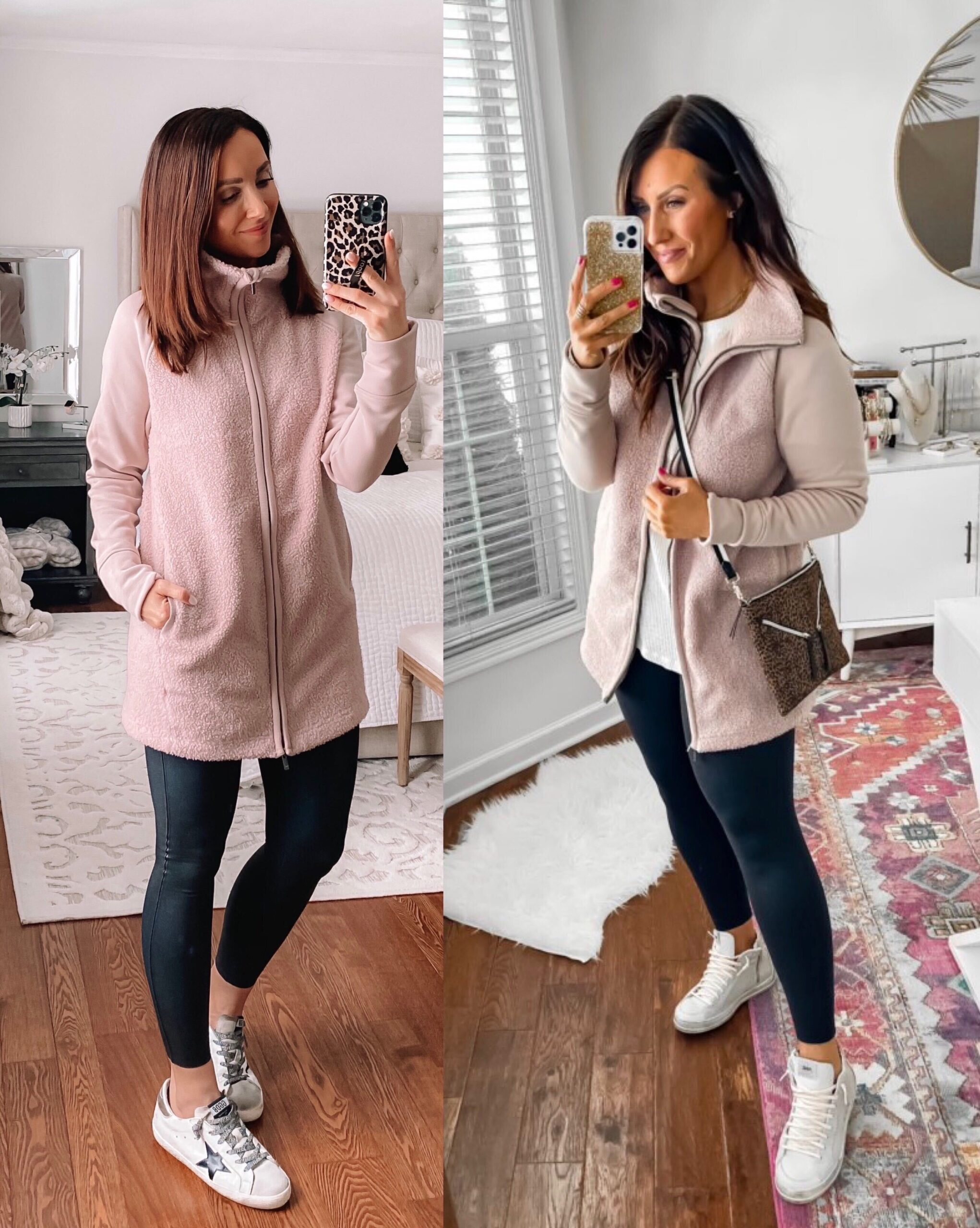 target style, target sherpa with faux leather leggings