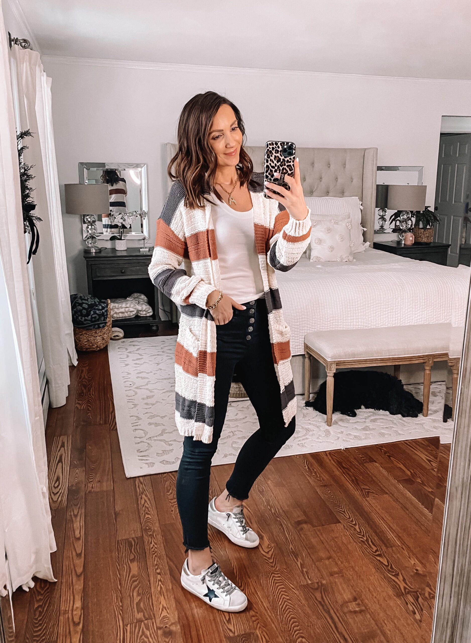 target style, target stripe sweater with black jeans