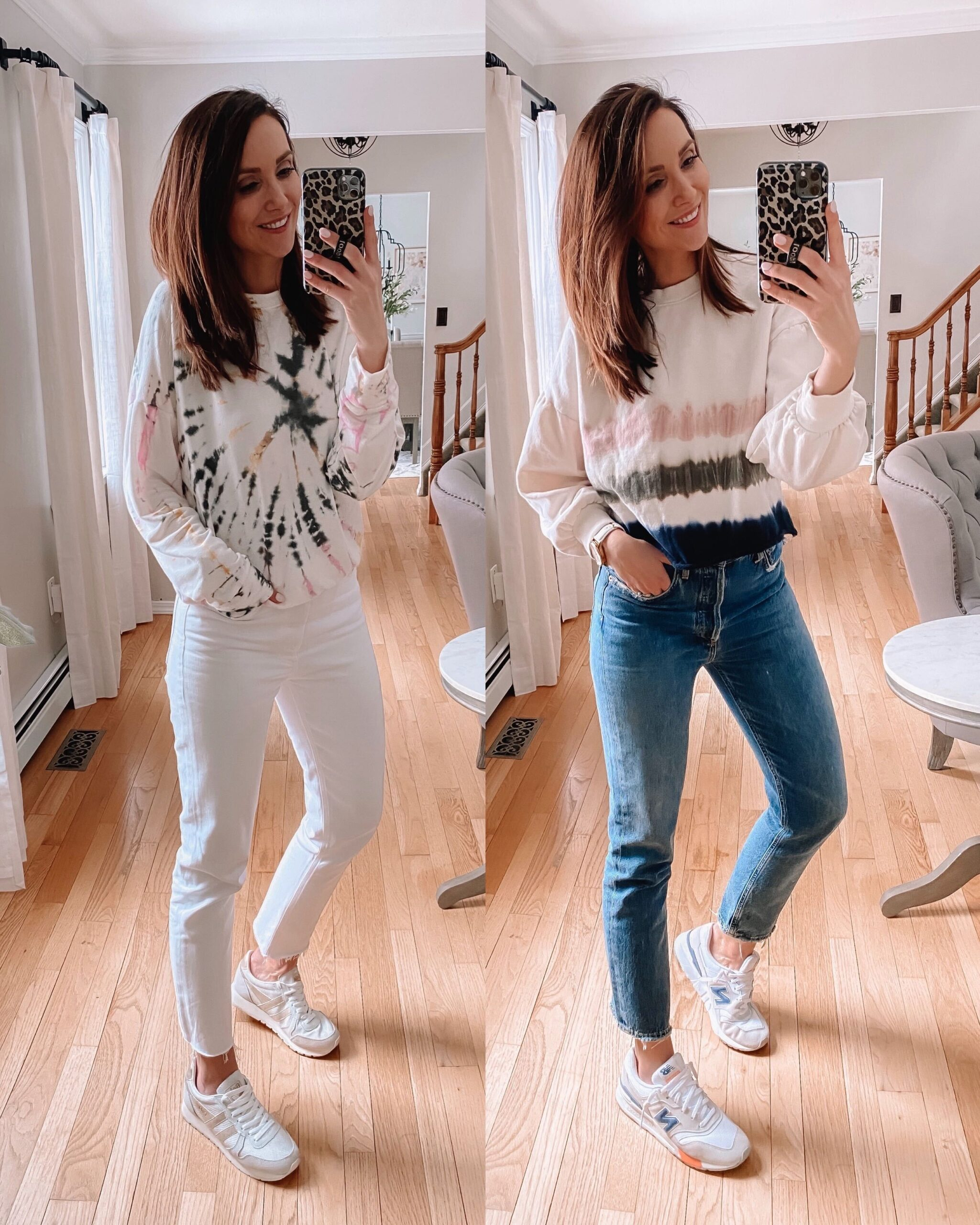 casual outfit with tie dye sweatshirts