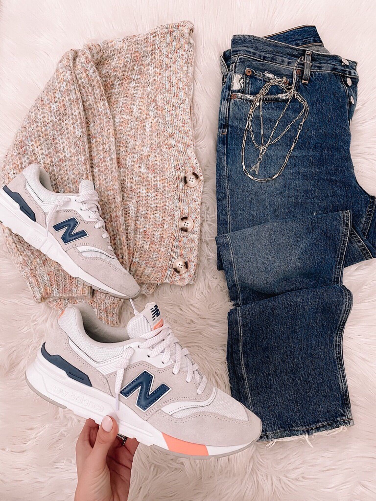 flatlay with new balance sneakers
